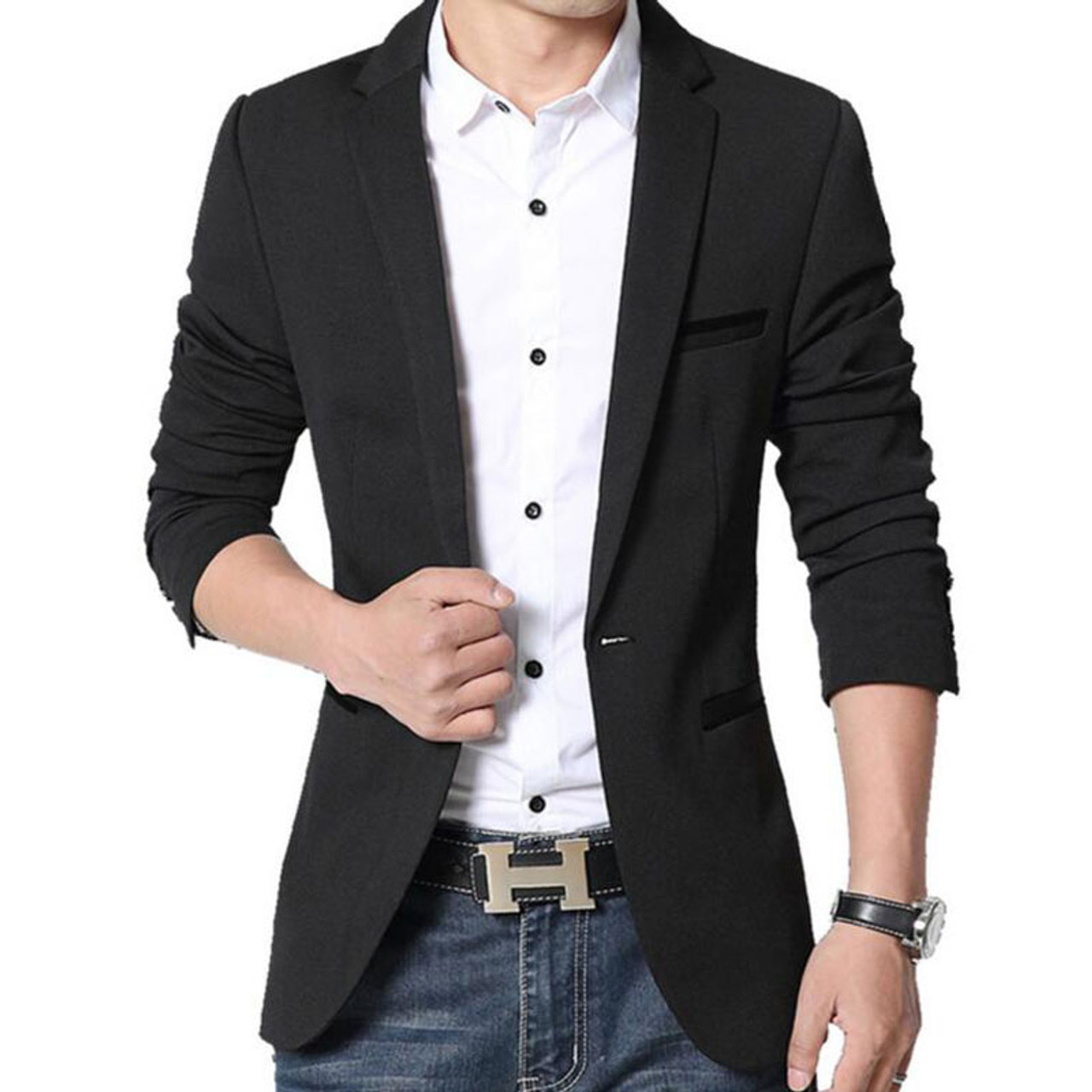 f4e836355bd3 ... RUMEIAI Mens Korean slim fit fashion cotton blazer Suit Jacket black  blue plus size M- ...