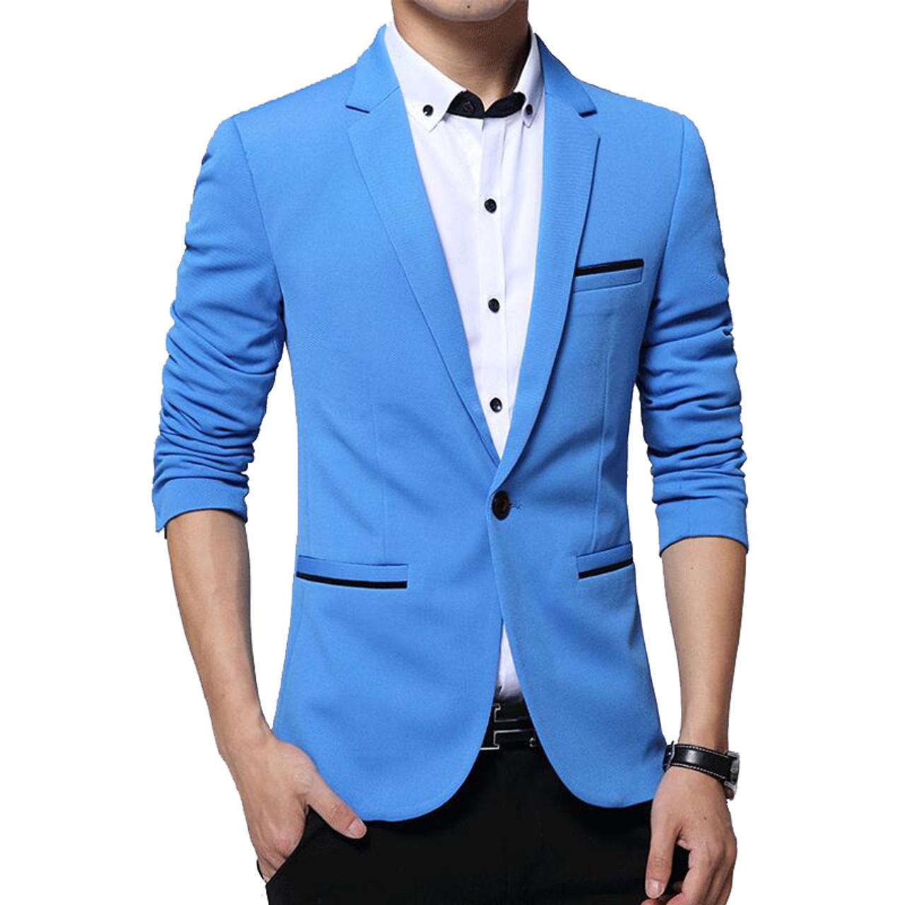 24414389dc0c3f ... RUMEIAI Mens Korean slim fit fashion cotton blazer Suit Jacket black  blue plus size M- ...