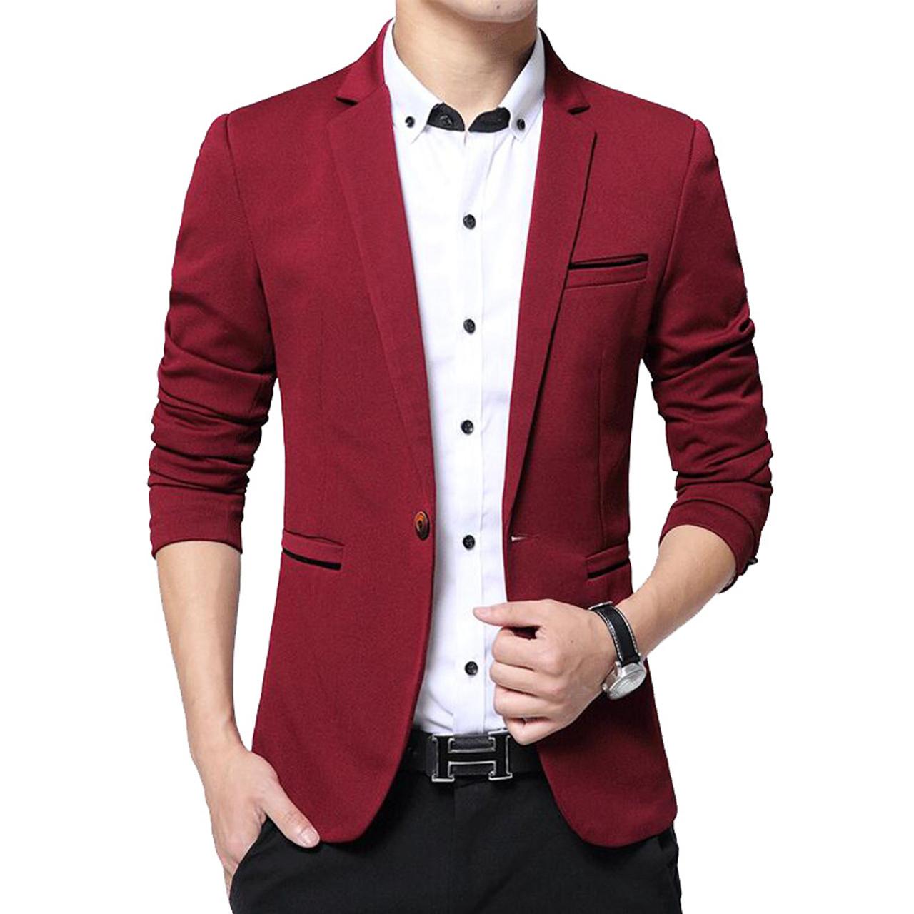 b398c65f47d ... RUMEIAI Mens Korean slim fit fashion cotton blazer Suit Jacket black  blue plus size M-