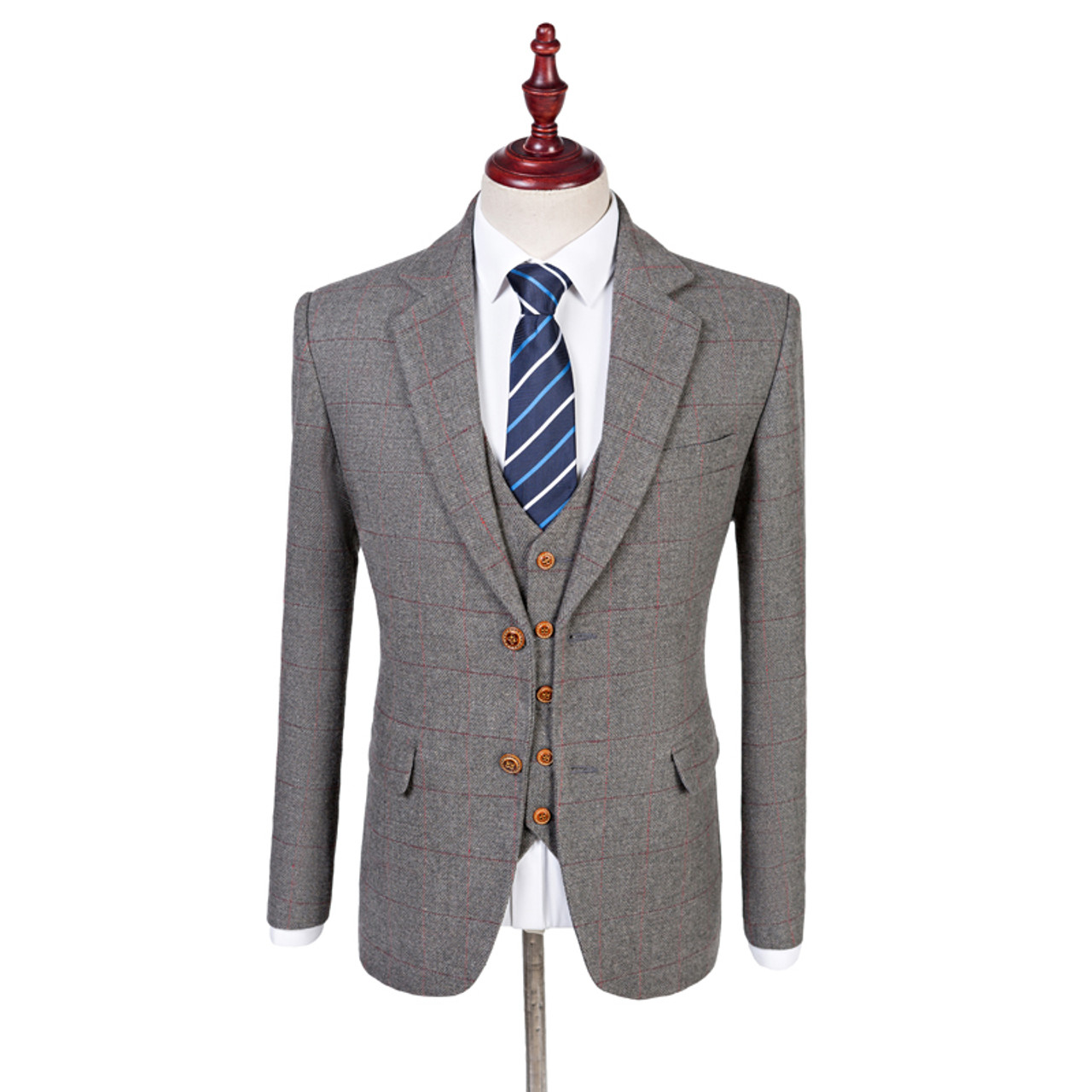 f90e2a1e93b ... Wool Retro Grey Herringbone Tweed British Style Custom Made Mens Suit  Tailor Notch Lapel Blazer Wedding ...