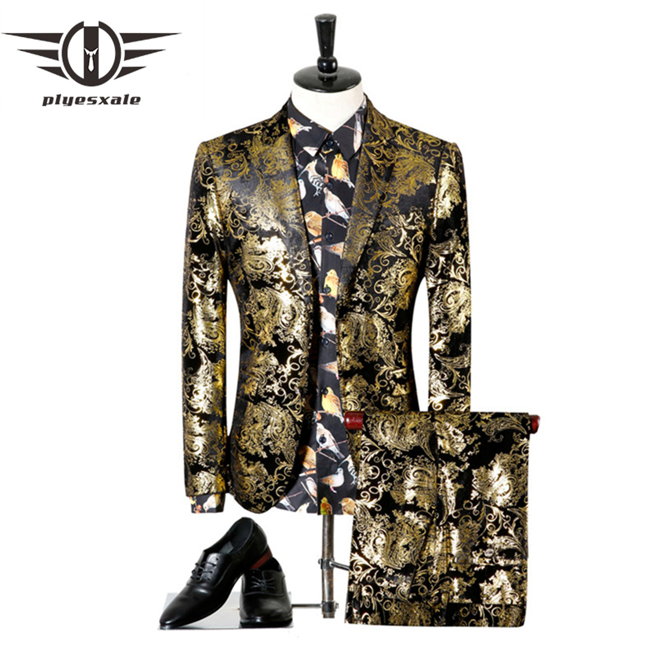 Plyesxale Men Suits For Wedding 2018 Luxury Brand Black Gold Tuxedo