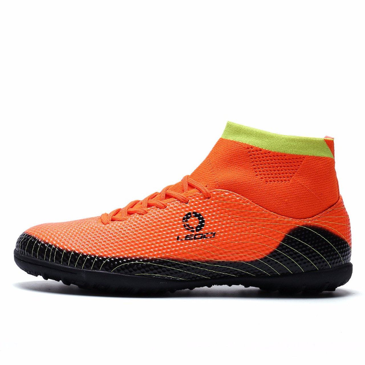 cfa59c5f5 ... Leoci Men TF Soccer Shoes High Ankle Football Boots Plus Size Soccer  Cleat Boots Kids Boys ...