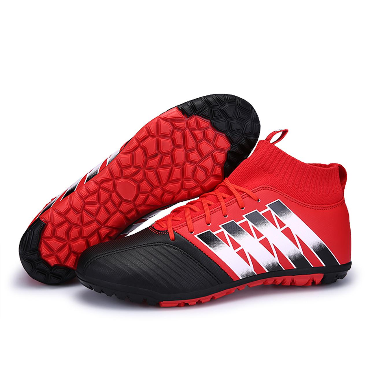 236de0135 ... Men Football Boots High Ankle TF Kids Soccer Shoes Children Indoor  Futsal Hard Wearing Boy Sock ...