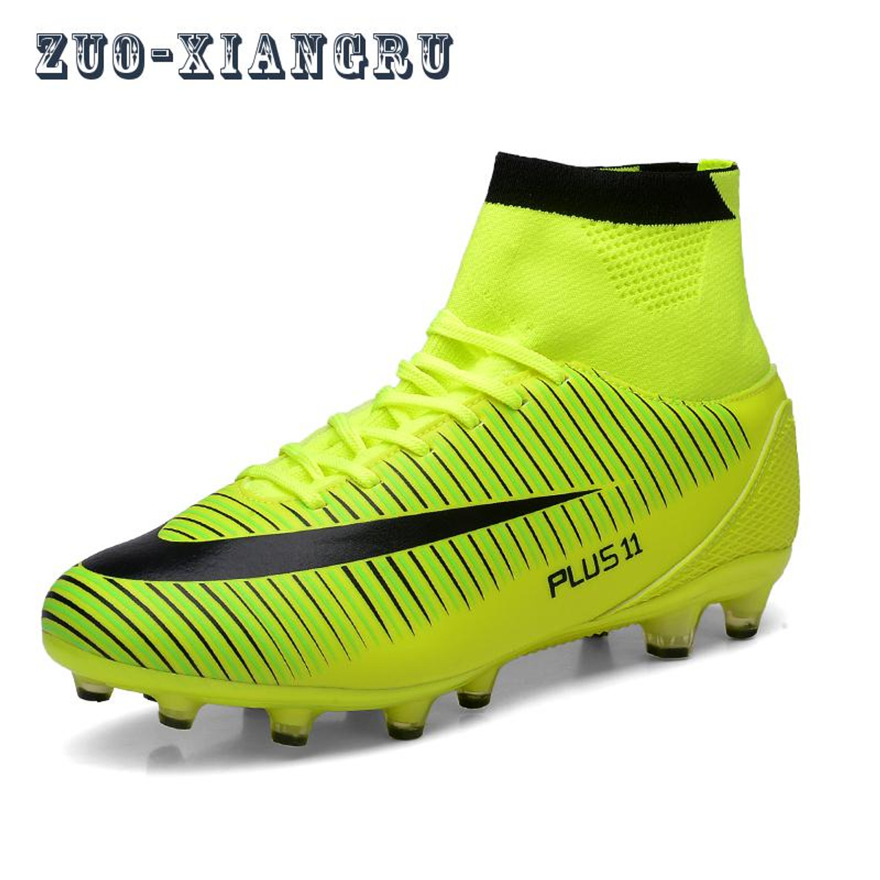 514868030 ... Men Soccer Shoes Indoor Futsal Shoes With Socks Professional Trainer TF  Football Boot high ankle Zapatillas ...