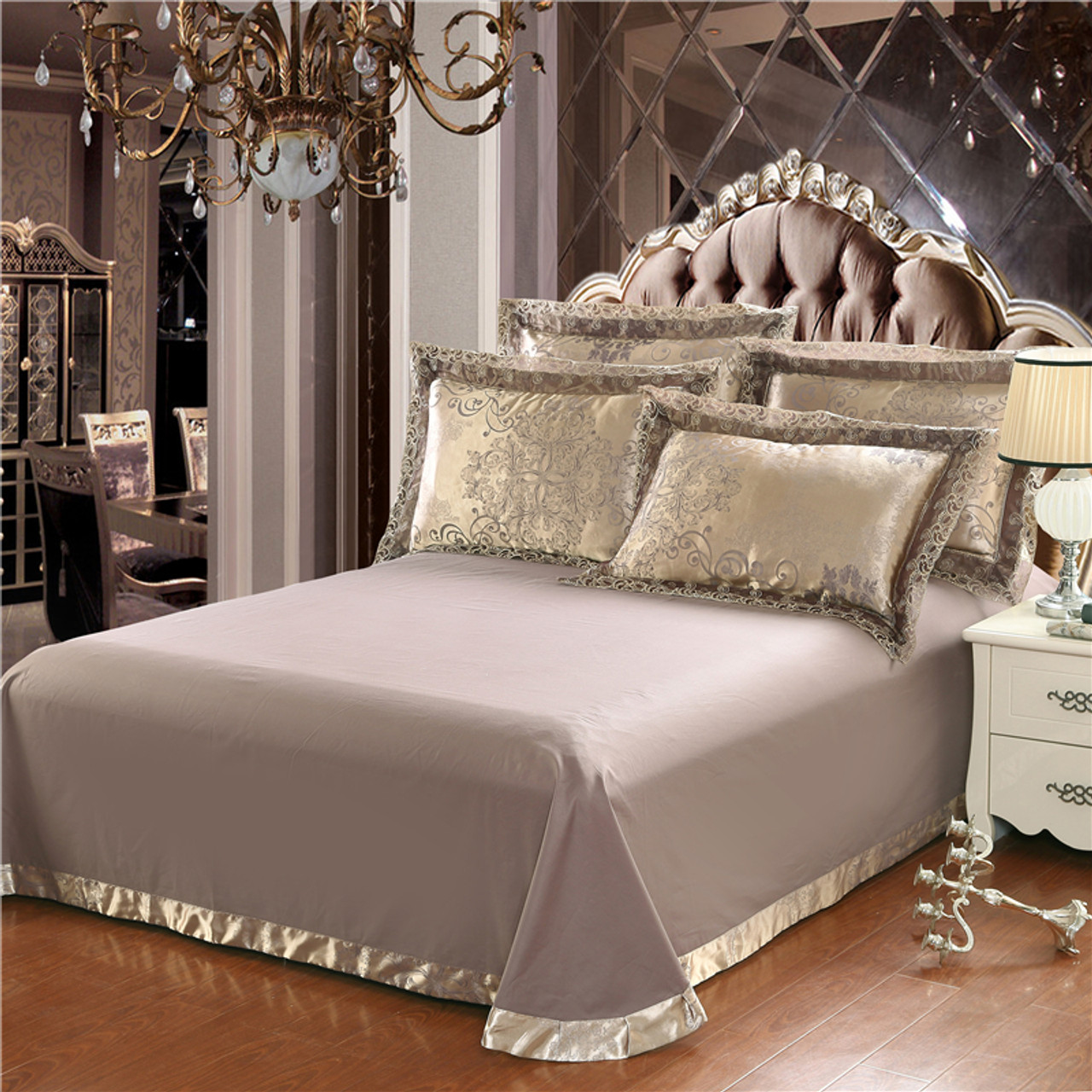 d1aa44fb00555 ... Gold silver coffee jacquard luxury bedding set queen king size stain  bed set 4pcs cotton ...