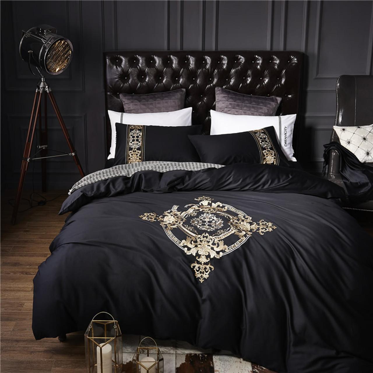 4pcs 100 Cotton Black White Silver Luxury Bedding Sets Bedclothes King Queen Size Duvet Cover Bed Sheet Linens Set Pillowcases Onshopdeals Com