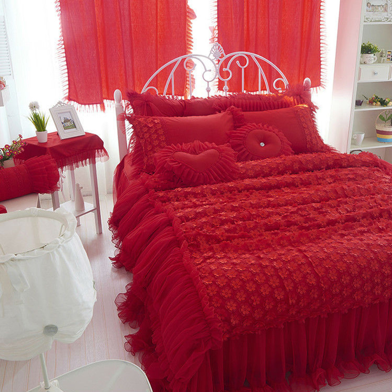 Wedding Red Color Luxury Lace Bedding Sets Twin Full Queen King Size Duvet Cover Bedskirt Pillow Sham 4pc Bedclothes Set Onshopdeals Com