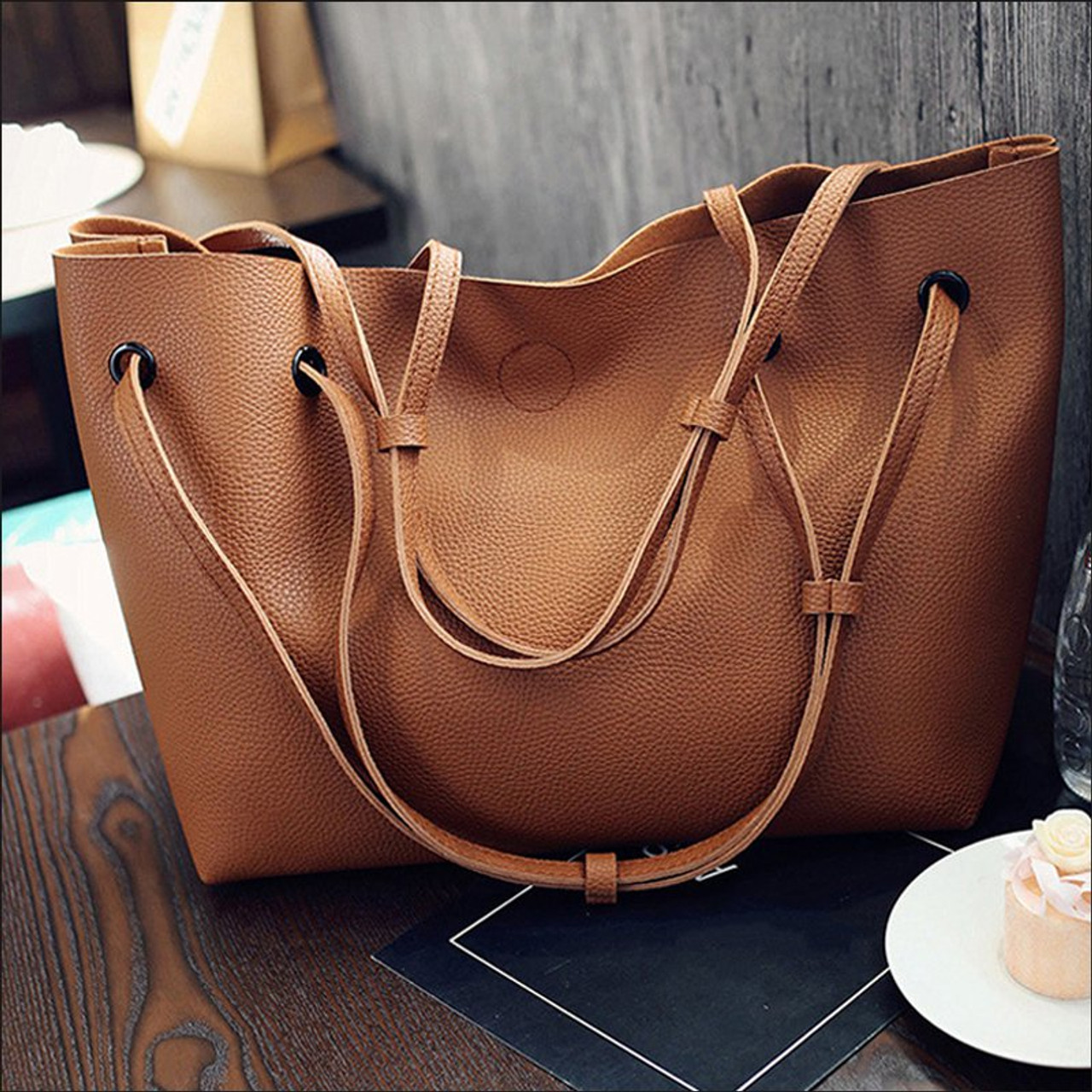 2f93667a6f ... Vintage Handbags Woman PU Leather Large Capacity Female Shoulder Bags  Solid Color Practical Women corssbody Bag ...
