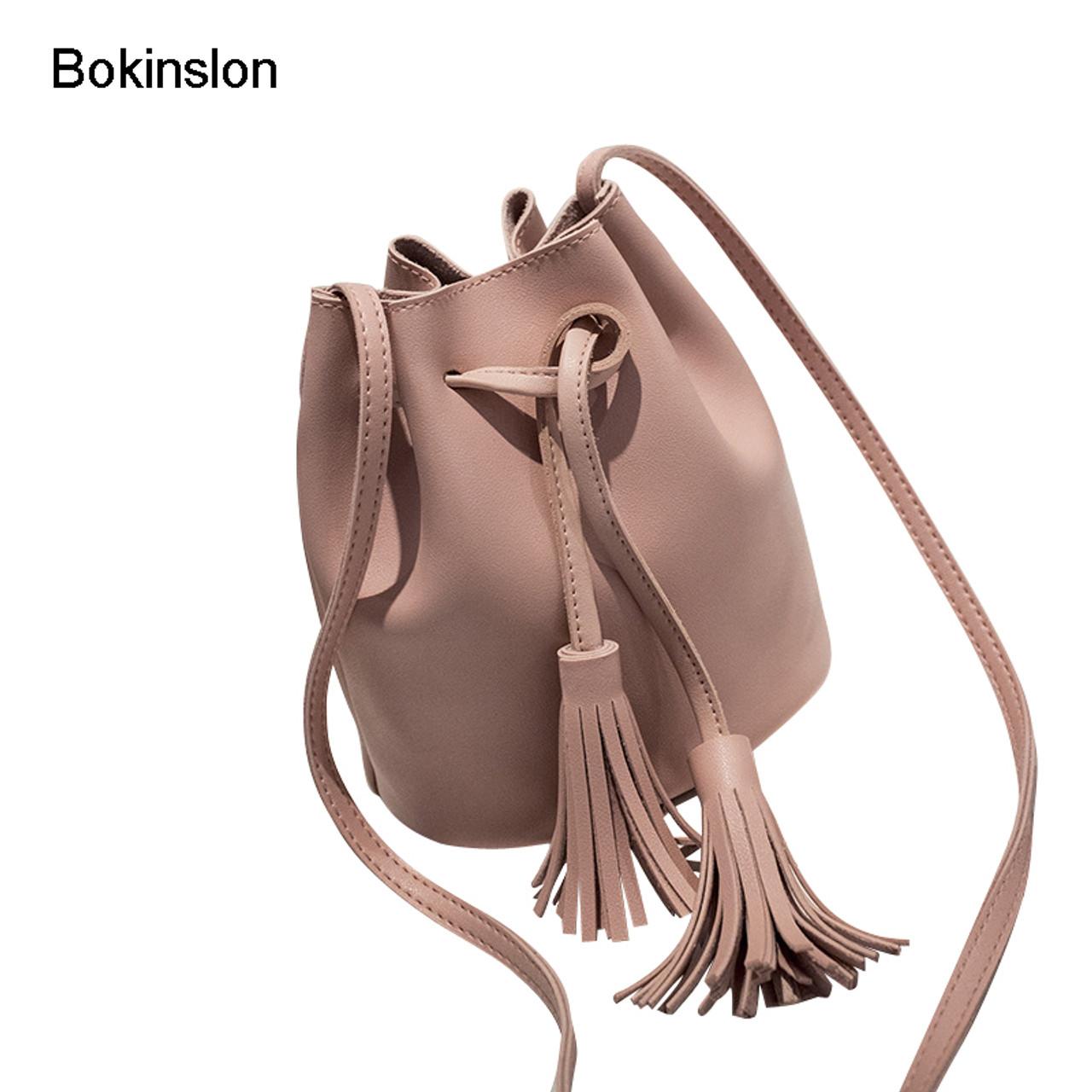 Bokinslon Tassel Shoulder Bags Girls PU Leather Retro Woman Crossbody Bags  Solid Color Fashion Drawstring Female ... e33a332f8690f