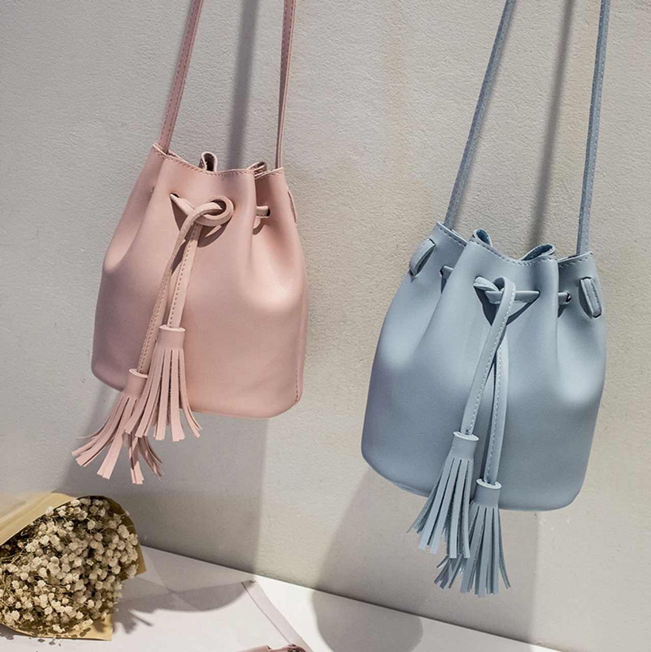 c05e037d8d32 Bokinslon Tassel Shoulder Bags Girls PU Leather Retro Woman Crossbody Bags  Solid Color Fashion Drawstring Female Bags