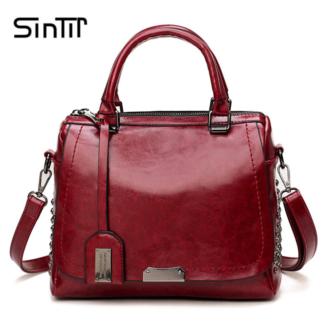 e42f6e3b2edf6d ... SINTIR Designer Brand Oil Wax Leather Women Handbags Fashion Rivet  Sequined Ladies Shoulder Bags Messenger Bag ...
