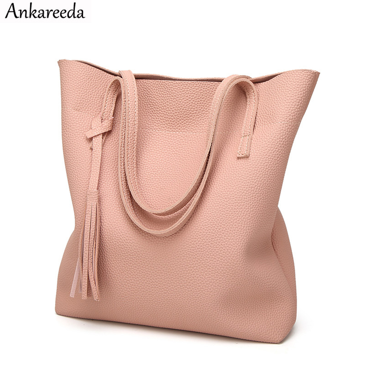 8c5a91da4361 Ankareeda Women's Soft Leather Handbag High Quality Women Shoulder Bag  Luxury Brand Tassel Bucket Bag Fashion Women's Handbags