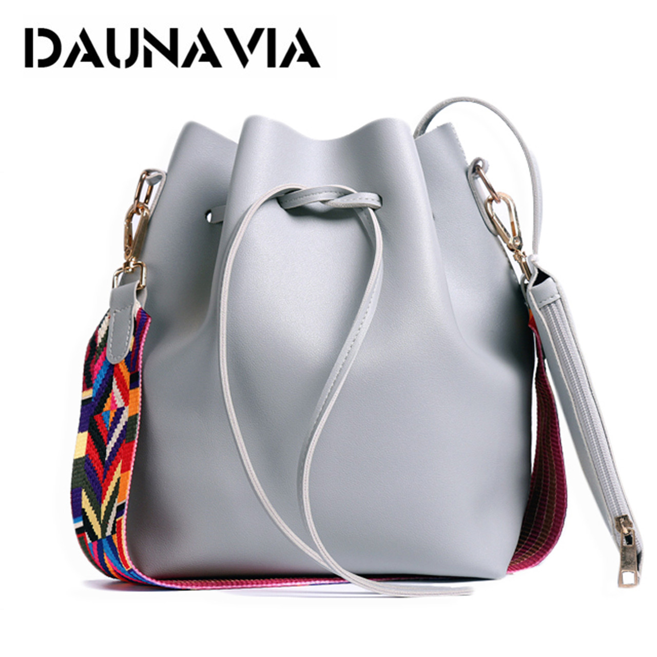 2171ae139f DAUNAVIA Women bag with Colorful Strap Bucket Bag Women PU Leather Shoulder  Bags Brand Designer Ladies ...
