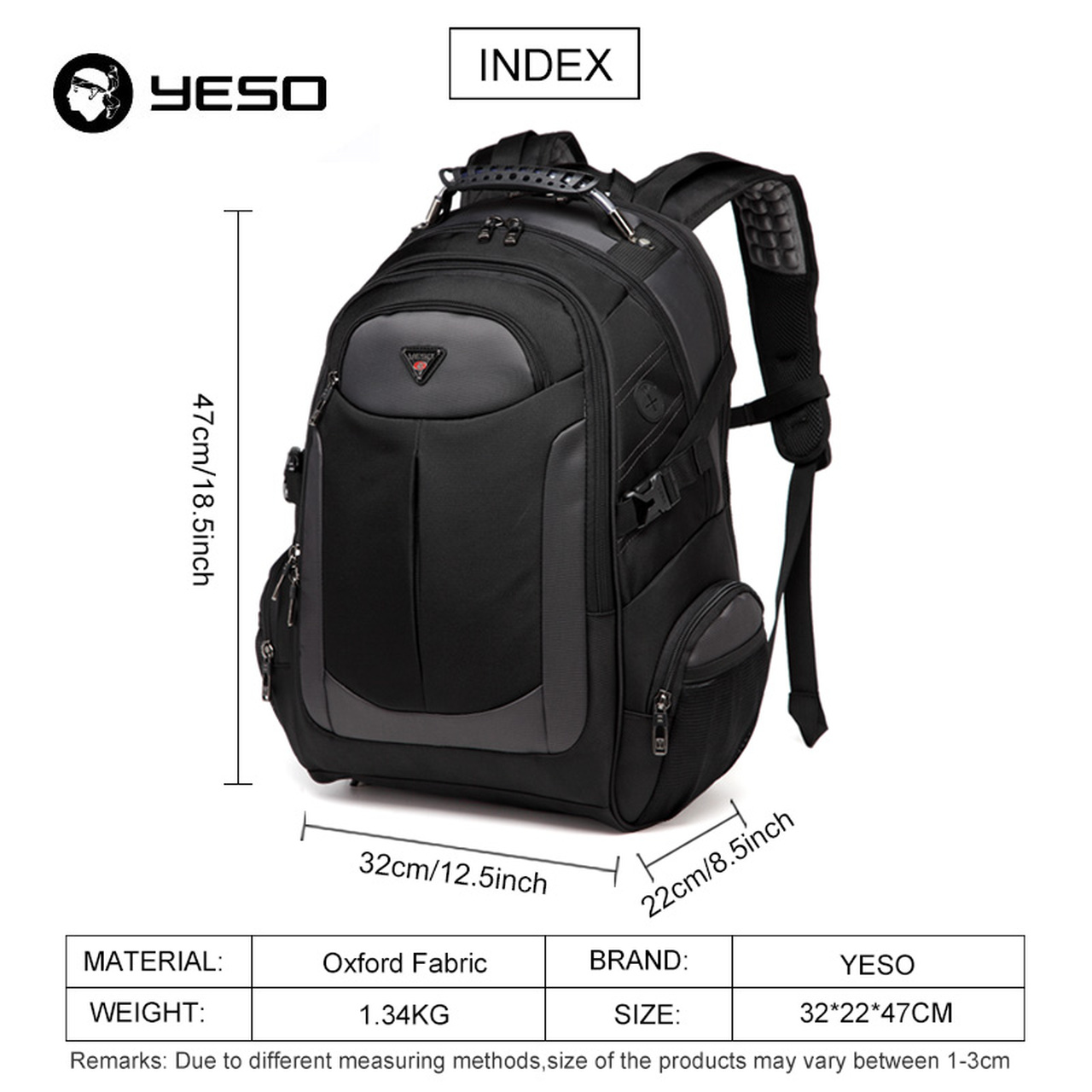 172844c9a76 ... YESO Brand Laptop Backpack Men s Travel Bags 2018 Multifunction  Rucksack Waterproof Oxford Black Computer Backpacks For ...