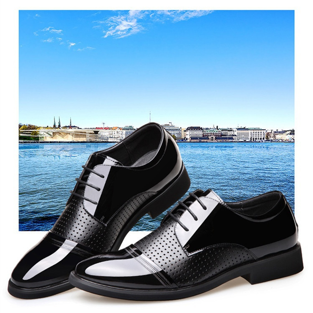 378307a47227 2018 Men's Fashion Luxury Pointed Toe Casual Leather Shoes Mens Lace Up  Business Dress Wedding Office Males Fashion Wedding Shoe