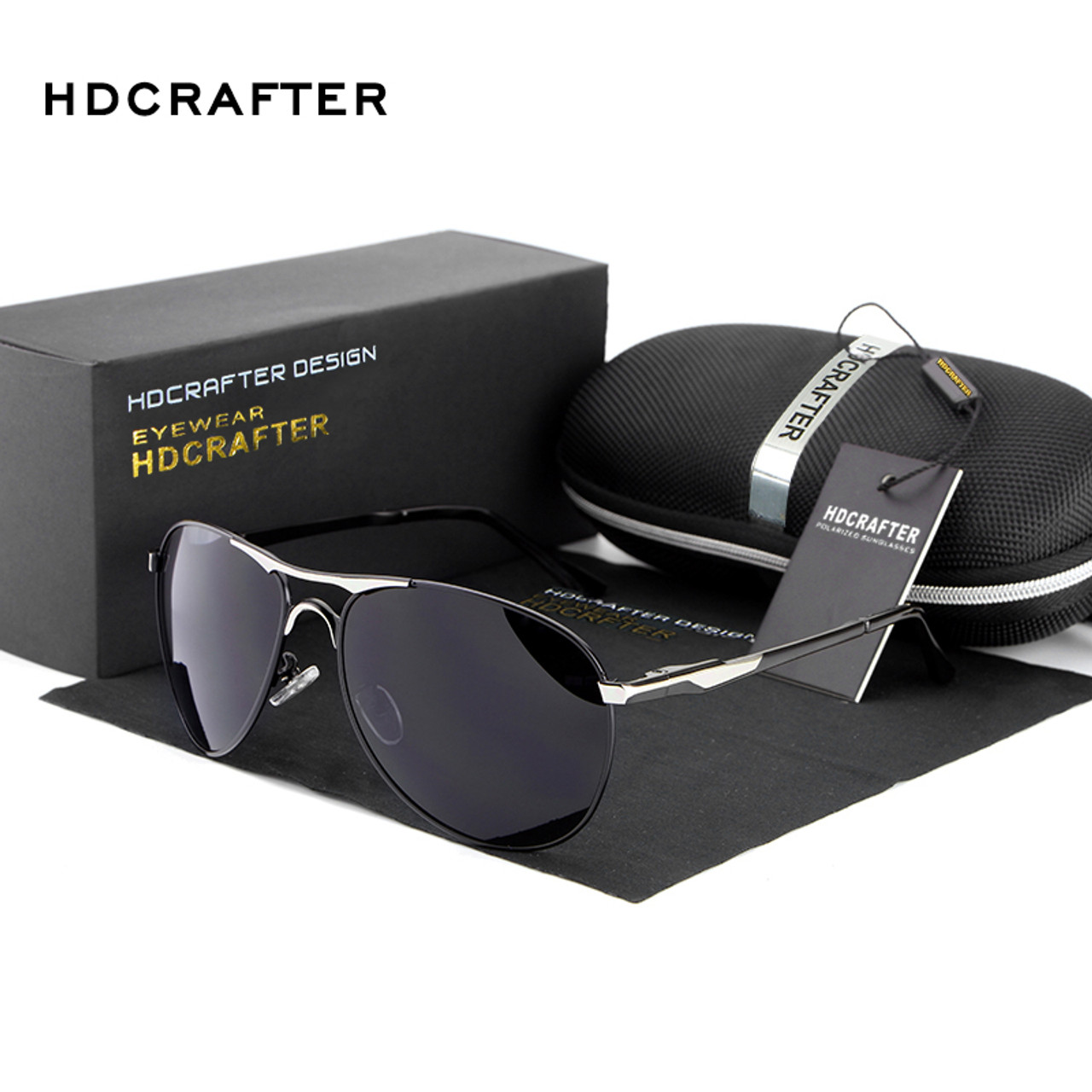 HDCRAFTER Men Metal Memory Frame Polarized Sunglasses Outdoor Driving Glasses
