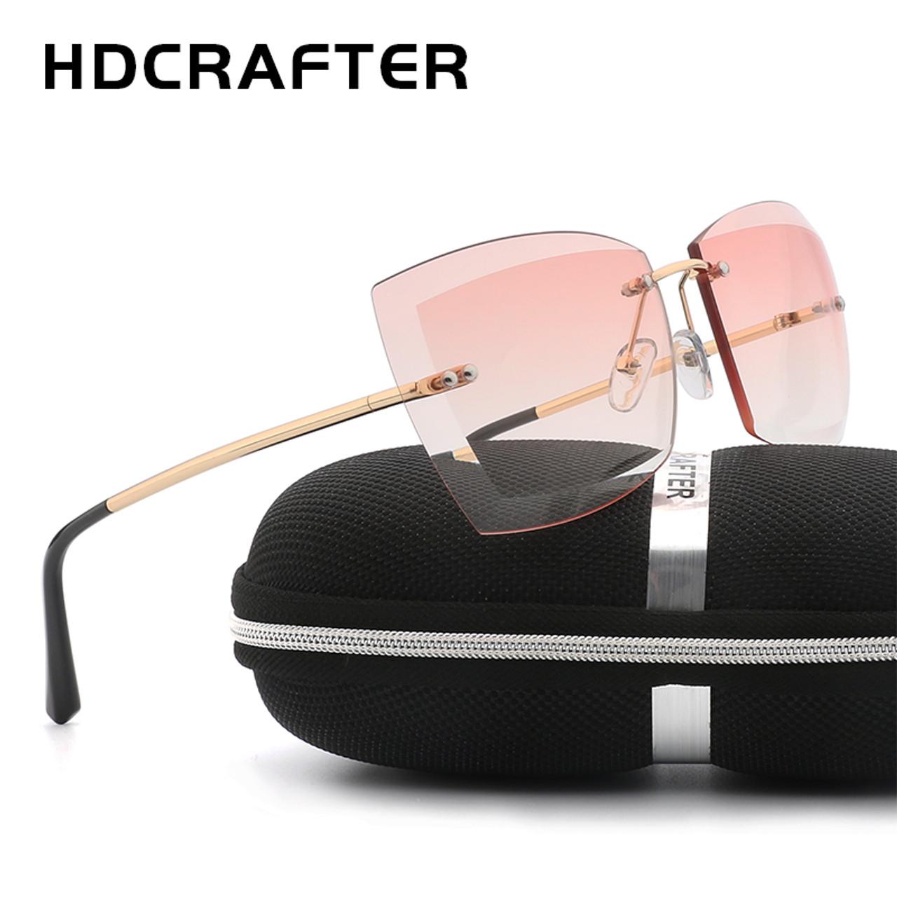 2ec693dfcc0 HDCRAFTER Oversized Women Sunglasses Square Rimless Diamond cutting Lens  Brand Designer Fashion Shades Sun Glasses With Box - OnshopDeals.Com