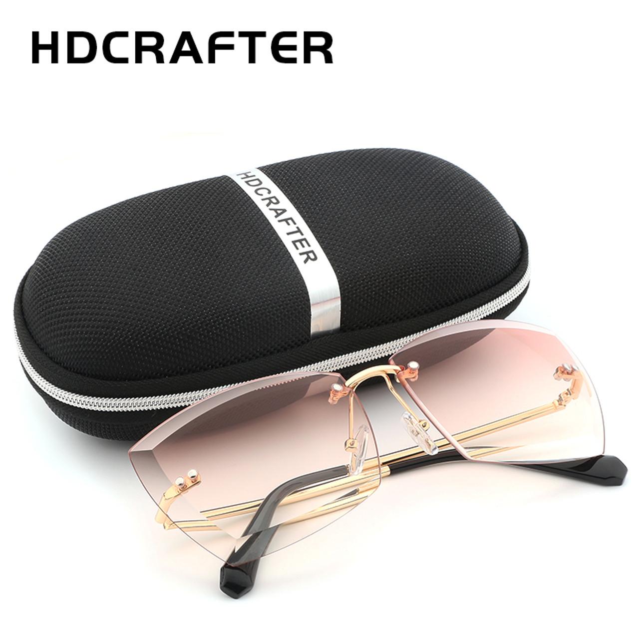 f47ae8f9c81 ... HDCRAFTER Oversized Women Sunglasses Square Rimless Diamond cutting  Lens Brand Designer Fashion Shades Sun Glasses With ...