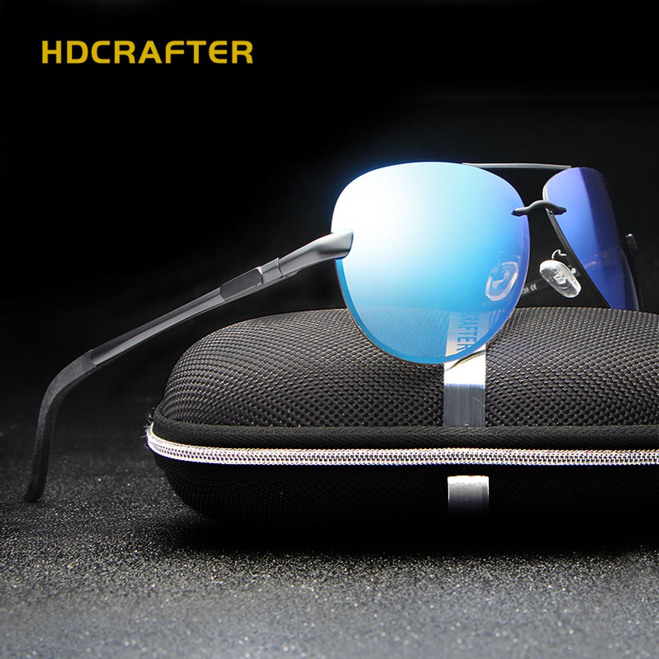 9f690ff927 ... HDCRAFTER Aluminum magnesium polarized aviation Sunglasses men driving sun  Glasses vintage oculos de sol ...