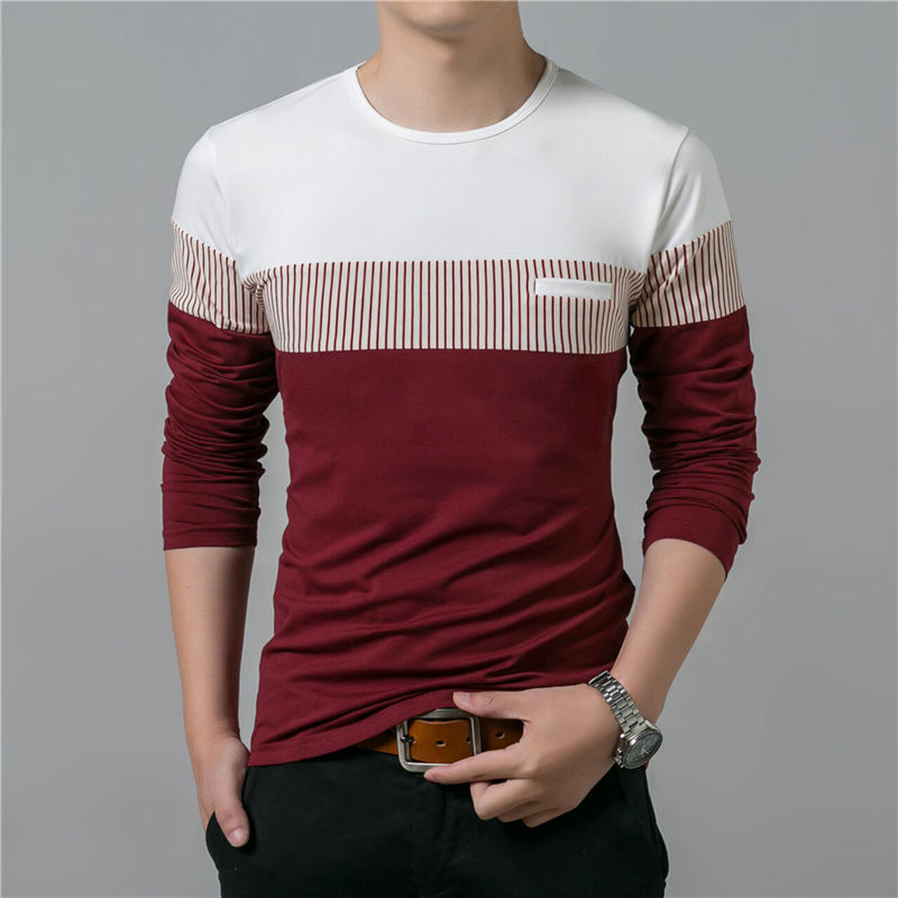 ... T-Shirt Men 2018 Spring Summer New Long Sleeve O-Neck T Shirt Men ... 7deb5d93083