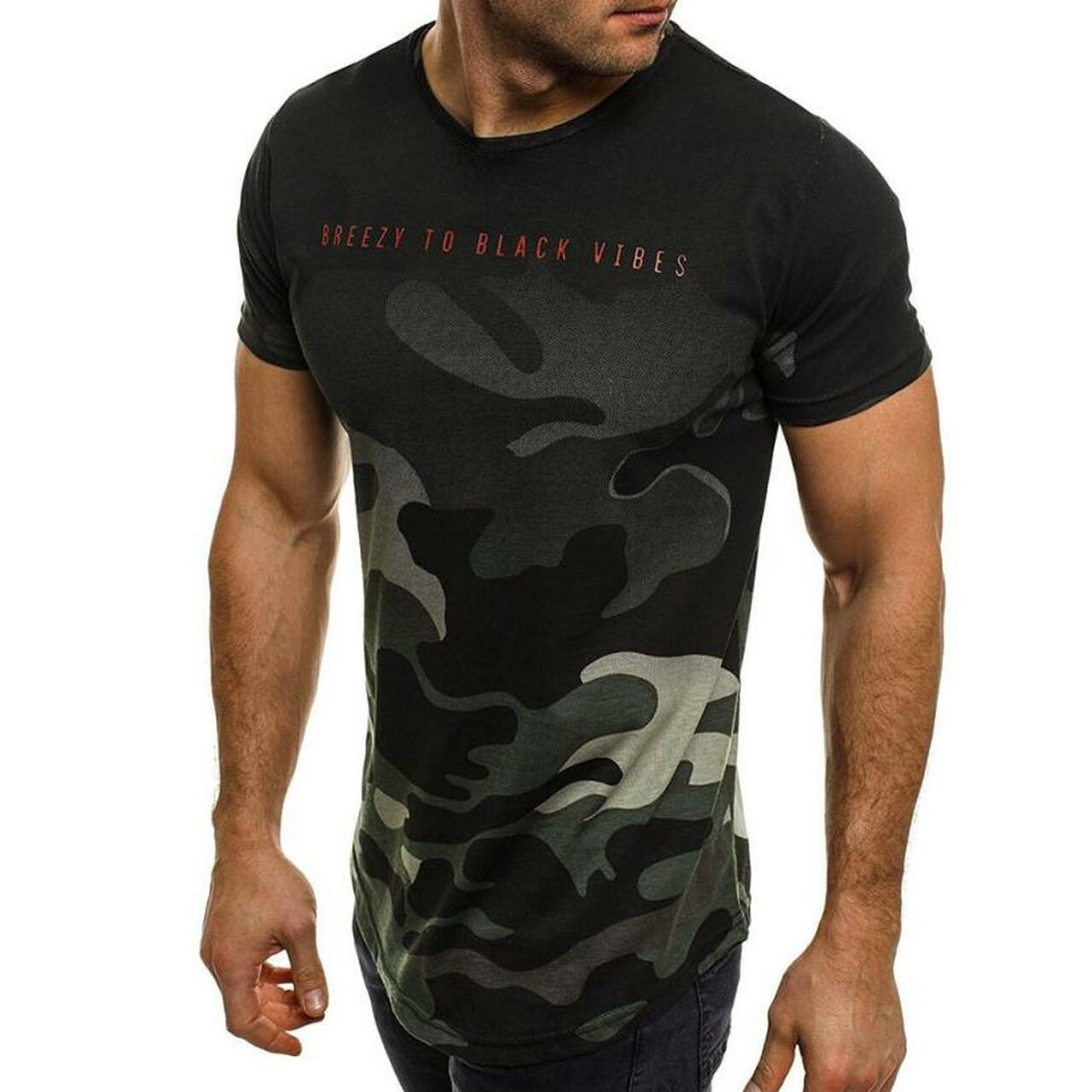 Men Fashion Summer Gym Sports Casual Camouflage Short Sleeve Slim Fit T-Shirt