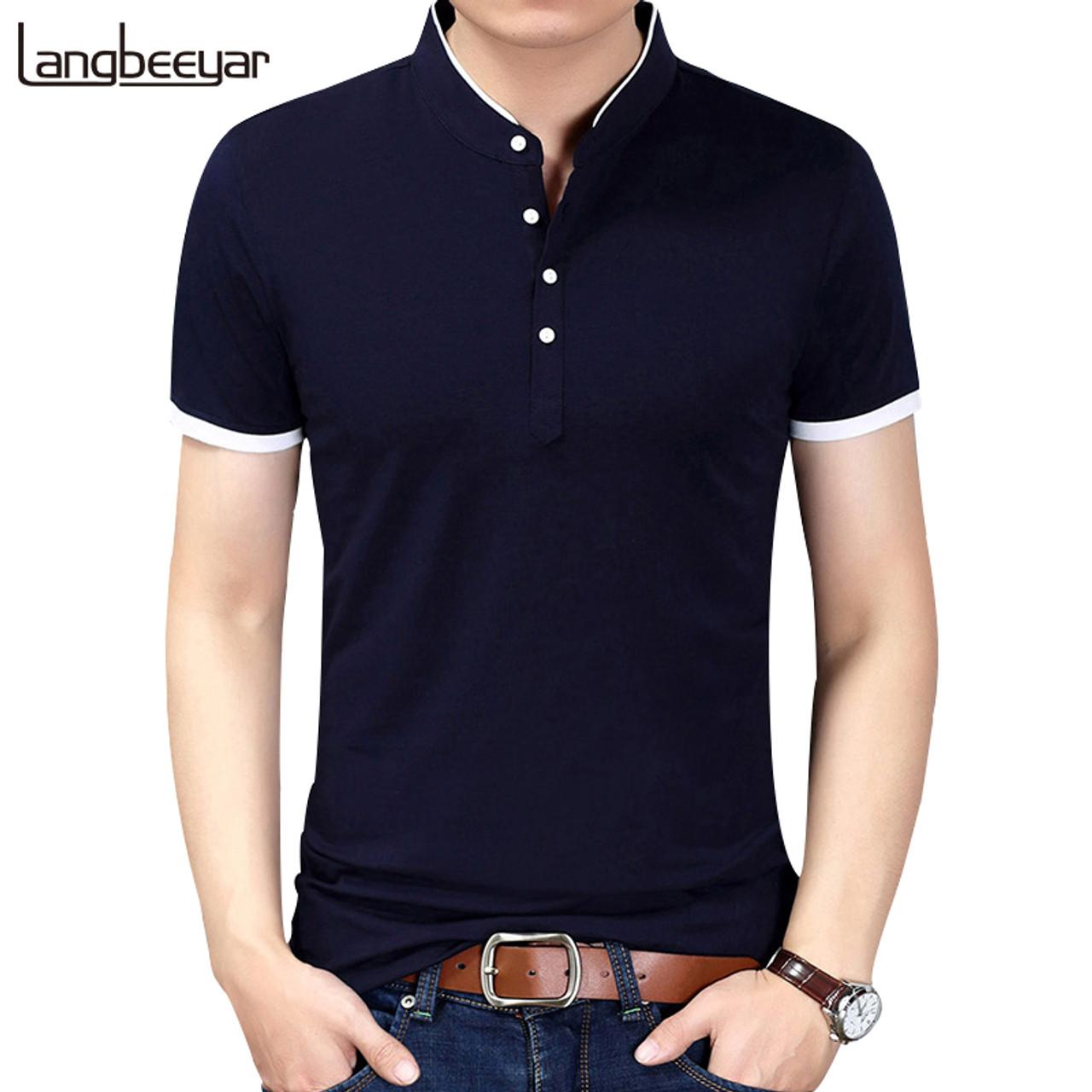 68e65a56b 2018 Summer New Fashion Brand Clothing Tshirt Men Solid Color Slim Fit Short  Sleeve T Shirt ...
