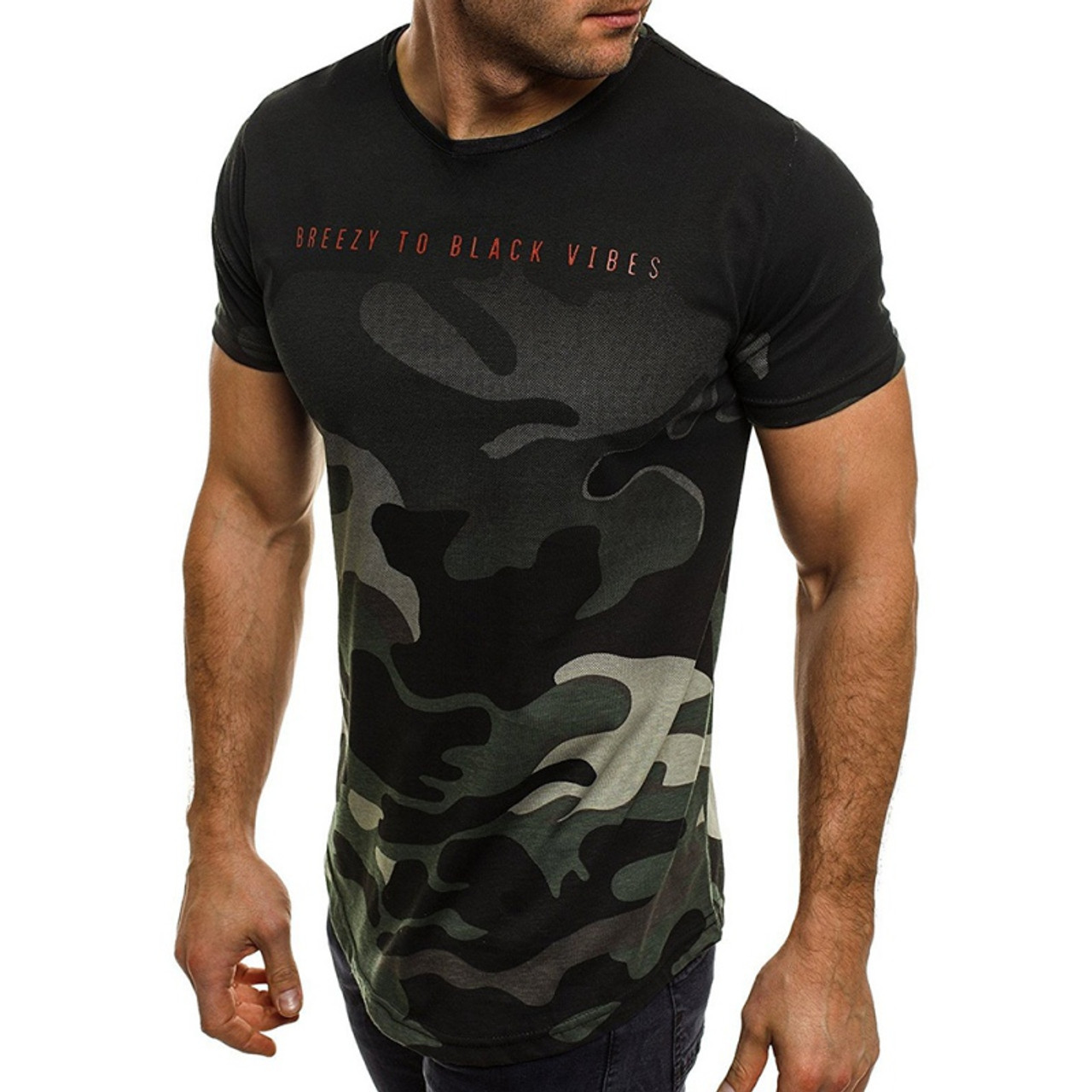 Fashionhe Mens Summer Camouflage Button Tees Patchwork Short Sleeved T-Shirt Top Blouse