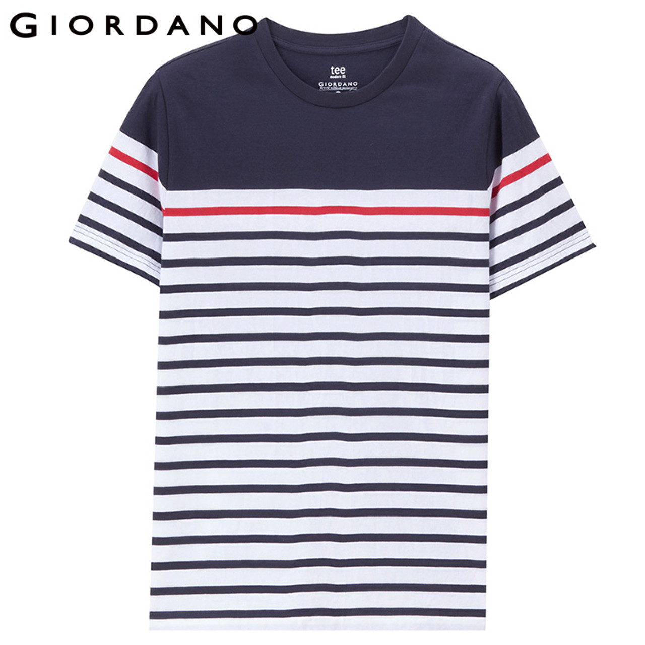 af656802 ... Giordano Men Tee Stripe Pattern Thirt Short Sleeves Crewneck Homme T- shirt Fashion 2018 Mens ...