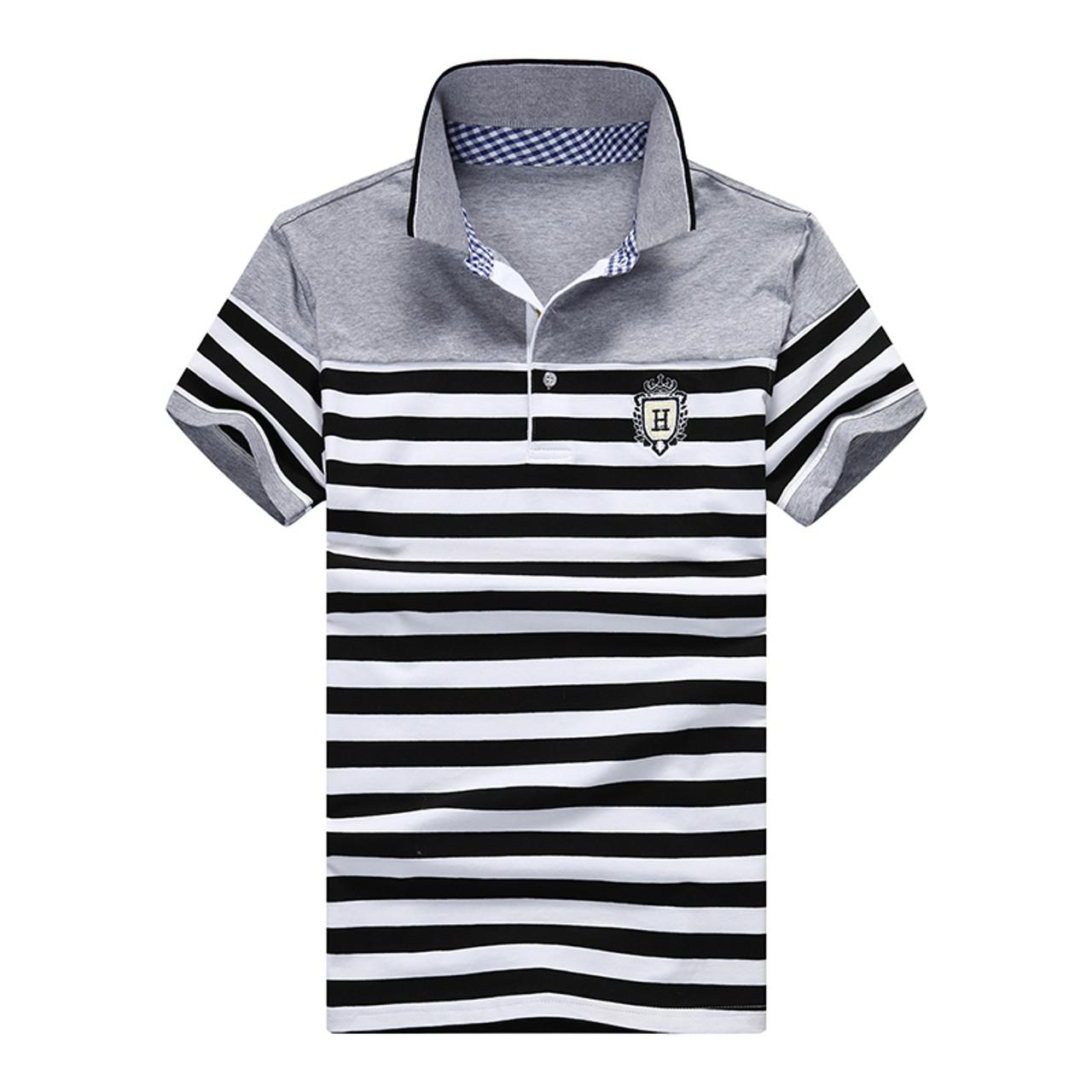 2464ba2a8 ... New 2018 Summer Fashion Turn-down Collar Cotton Striped Casual t shirt  Men Slim Fit ...