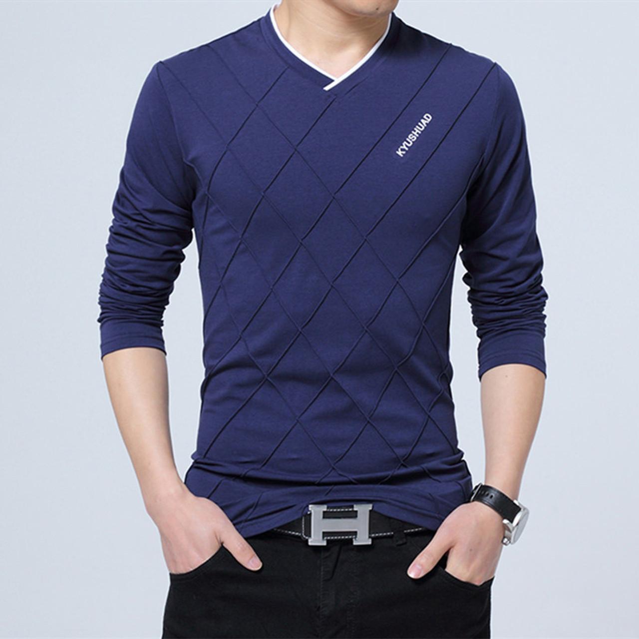 9503614682c ... 2018 Mens Spring Casual T-shirt Fashion Slim Long Sleeve V Neck Fitness  T- ...