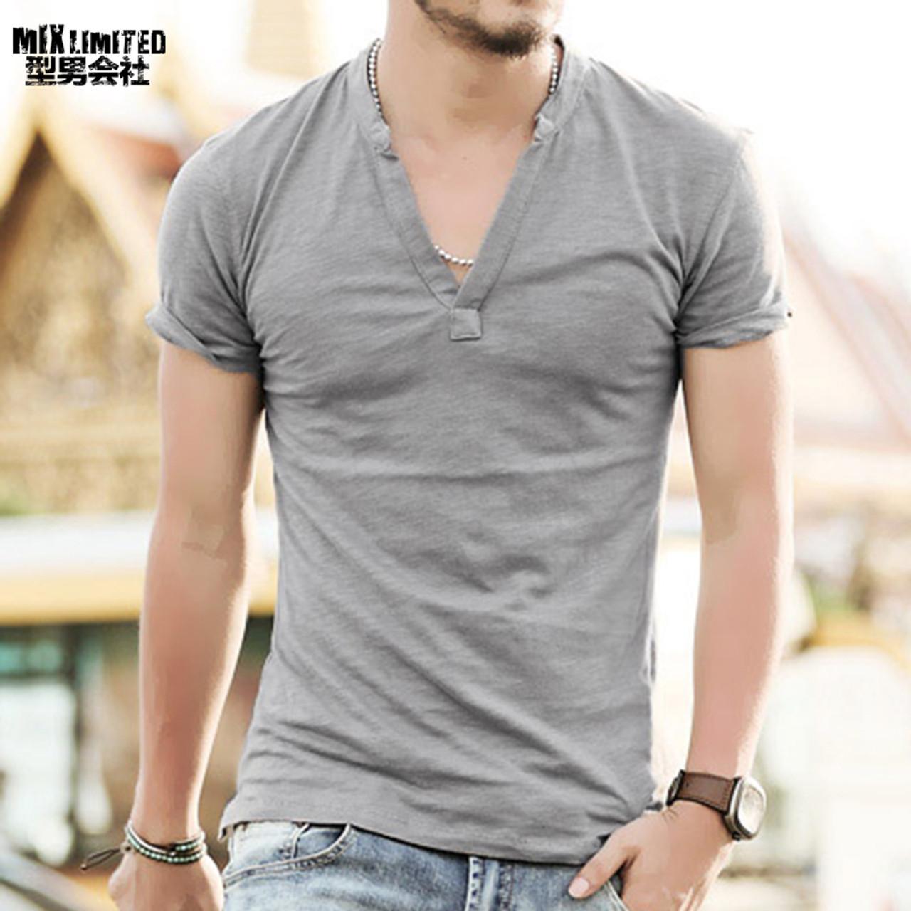 a9f7aa696 ... Men t shirt solid Tops Tees Short Sleeve t-shirt Men's brand fashion V  neck ...