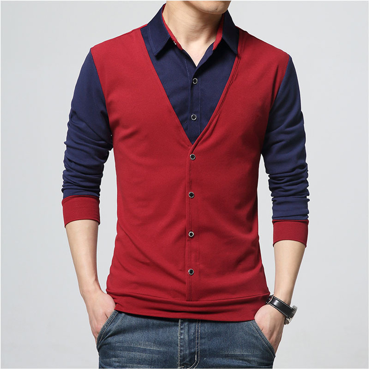 Fashion Designer Clothes For Men   Mens T Shirts Fake Two Stitching Buttons Decoration 2018 Fashion