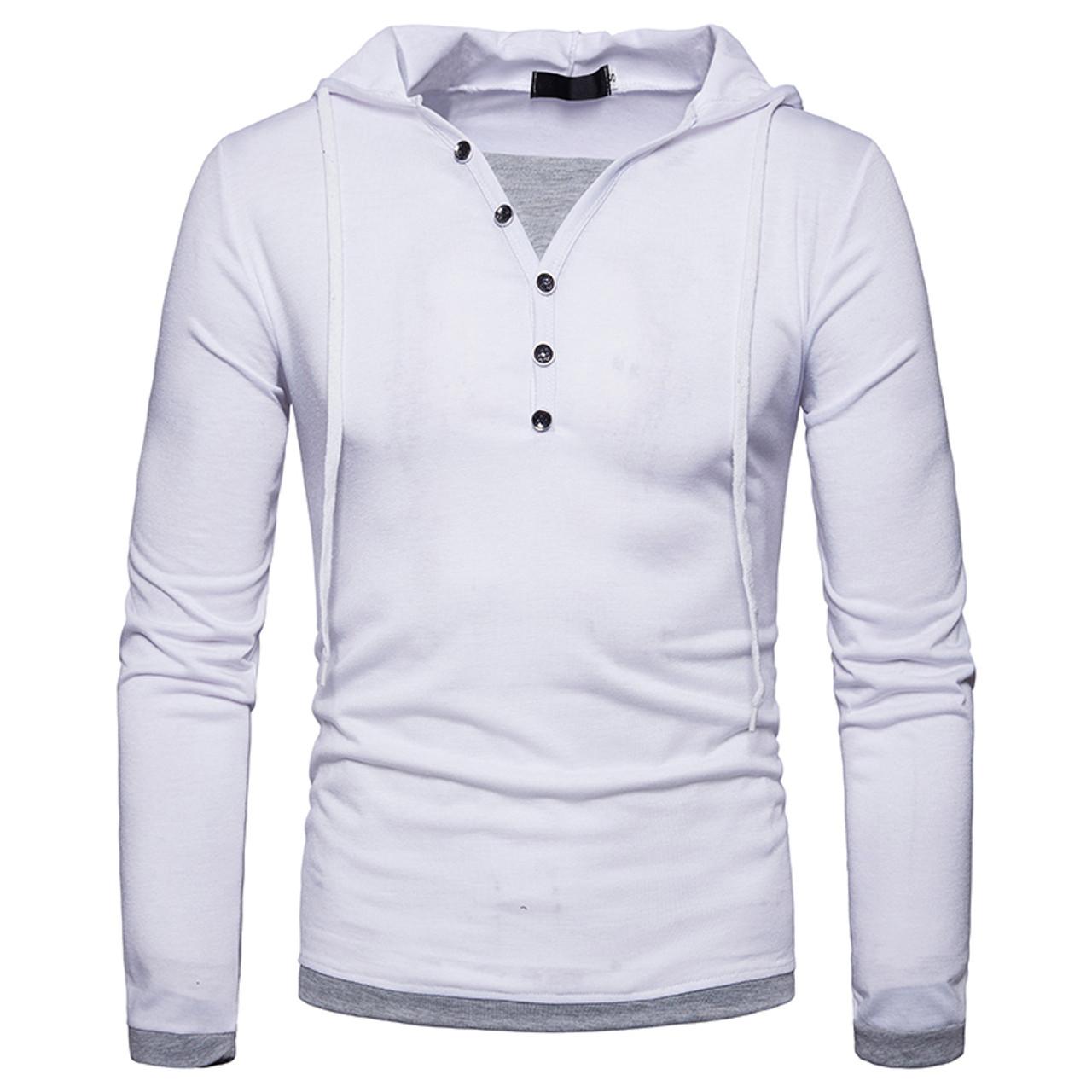 e4c7db432 New Arrivals 2018 T-shirt style men fashion slim Buttons decoration Men's  popular patchwork color ...