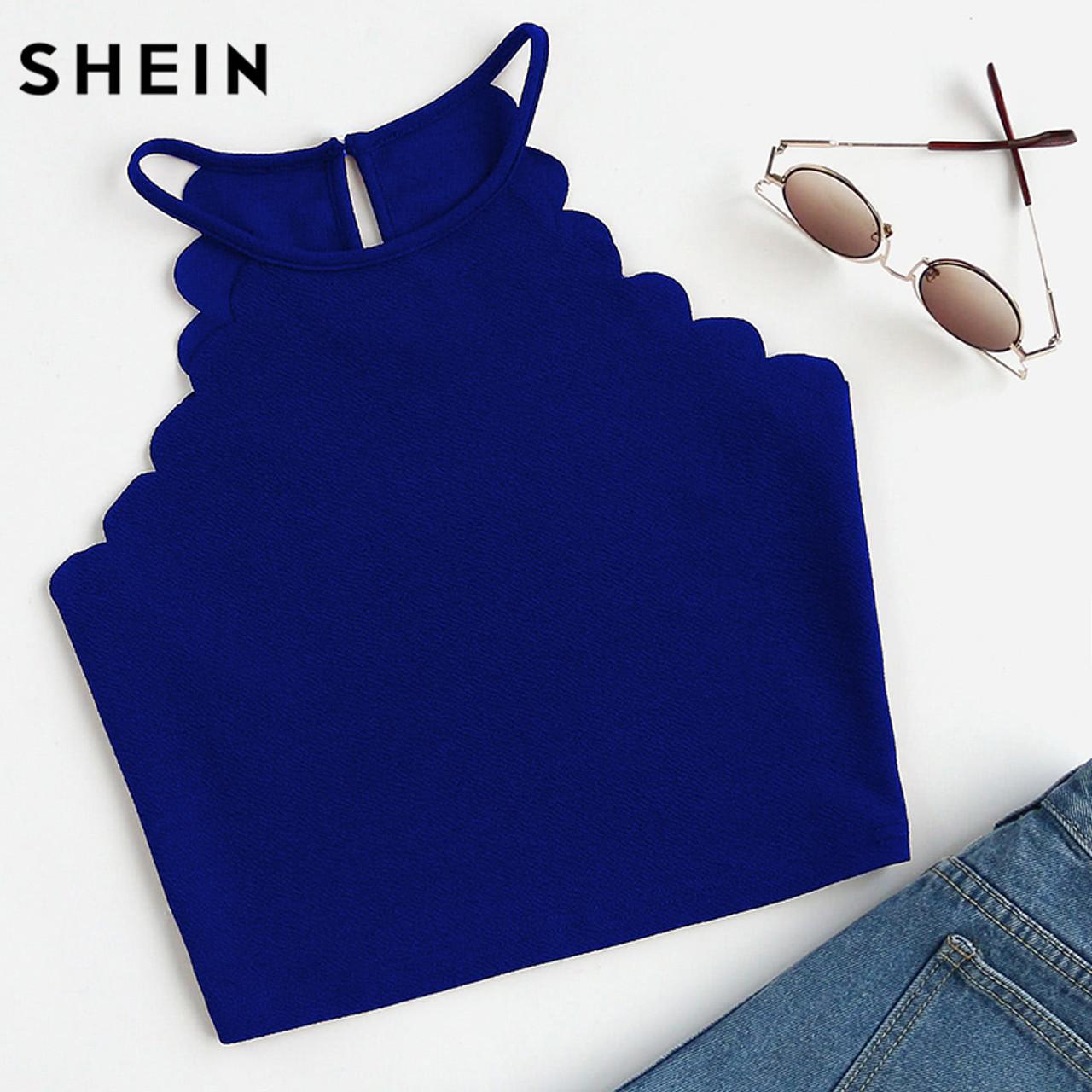 63def8289f ... SHEIN Crop Tops Women 2017 Solid Blue Scallop Trim Halter Top Summer  Women's Sleeveless Camisole Women ...