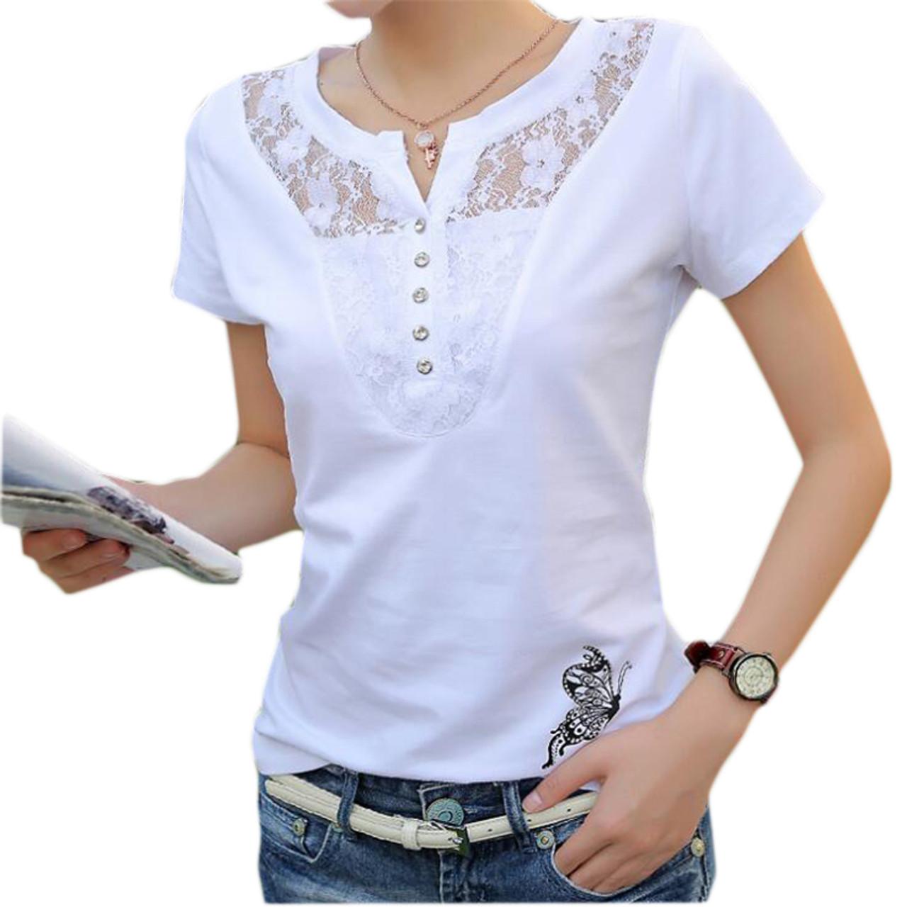 17934c58 Summer T-shirt Women Casual Lady Top Tees Cotton White Tshirt Female Brand Clothing  T ...