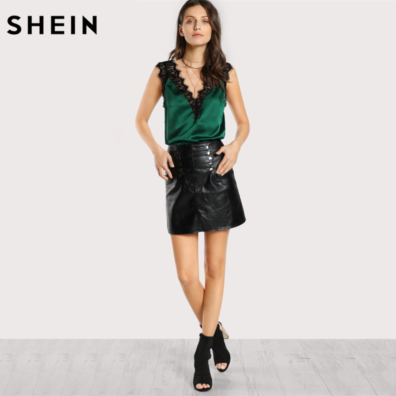 338712ecb25 SHEIN Lace Trim Double V Neck Satin Silk Top Sexy Tops for Women Fitness  Tank Top Green Elegant Women's Sleeveless Tops