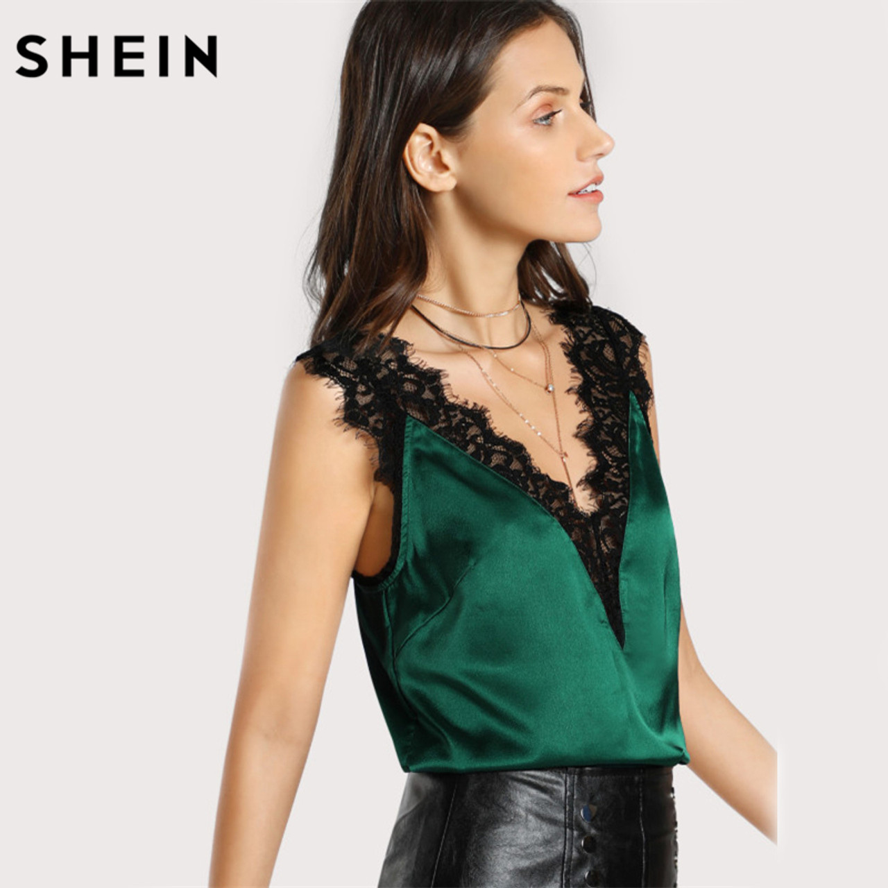c1129db58b2 ... SHEIN Lace Trim Double V Neck Satin Silk Top Sexy Tops for Women  Fitness Tank Top ...