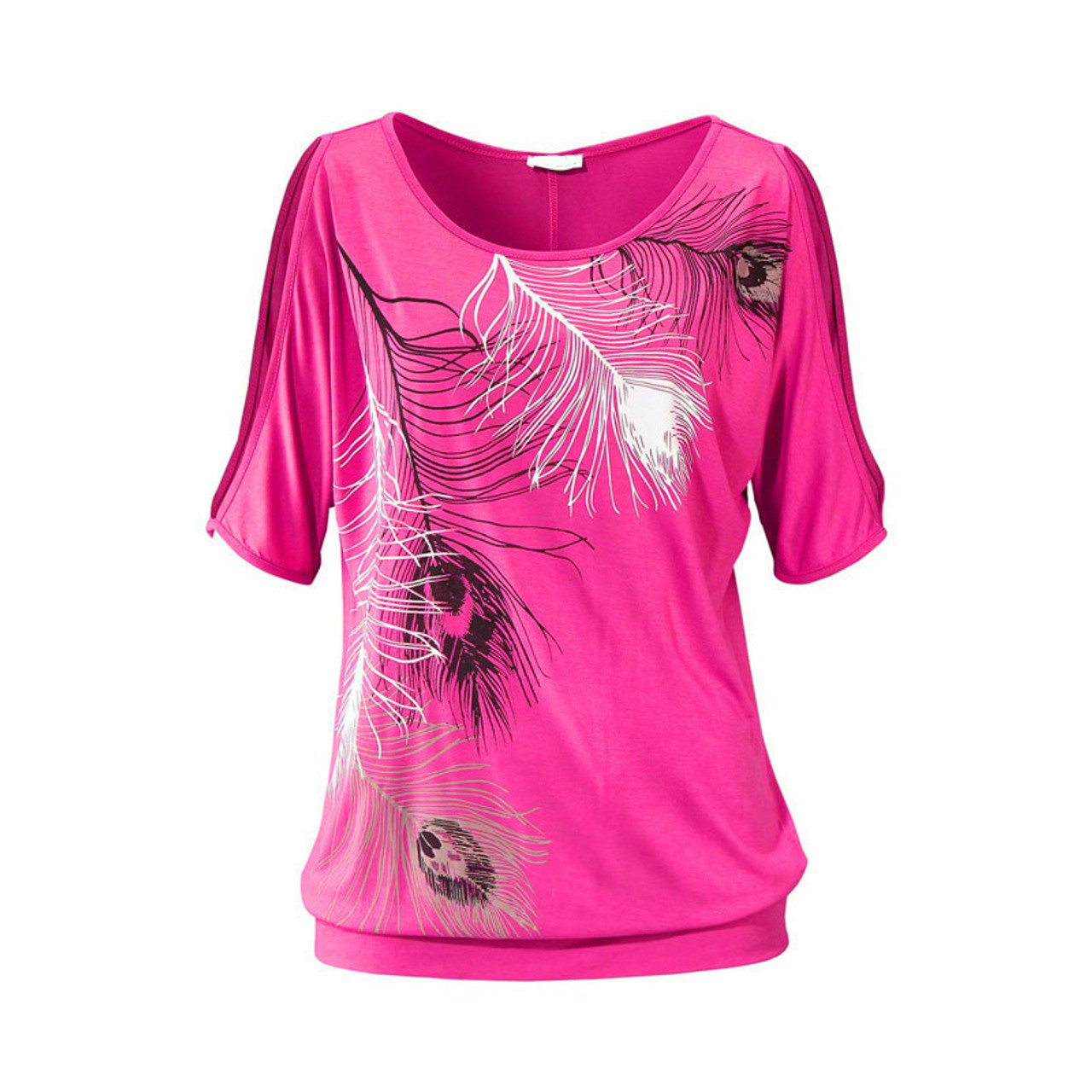 f91f2d0e ... Slit Sleeve Cold Shoulder Feather Print Women Casual Summer T Shirt Girl  2018 Tee Tshirt Loose ...