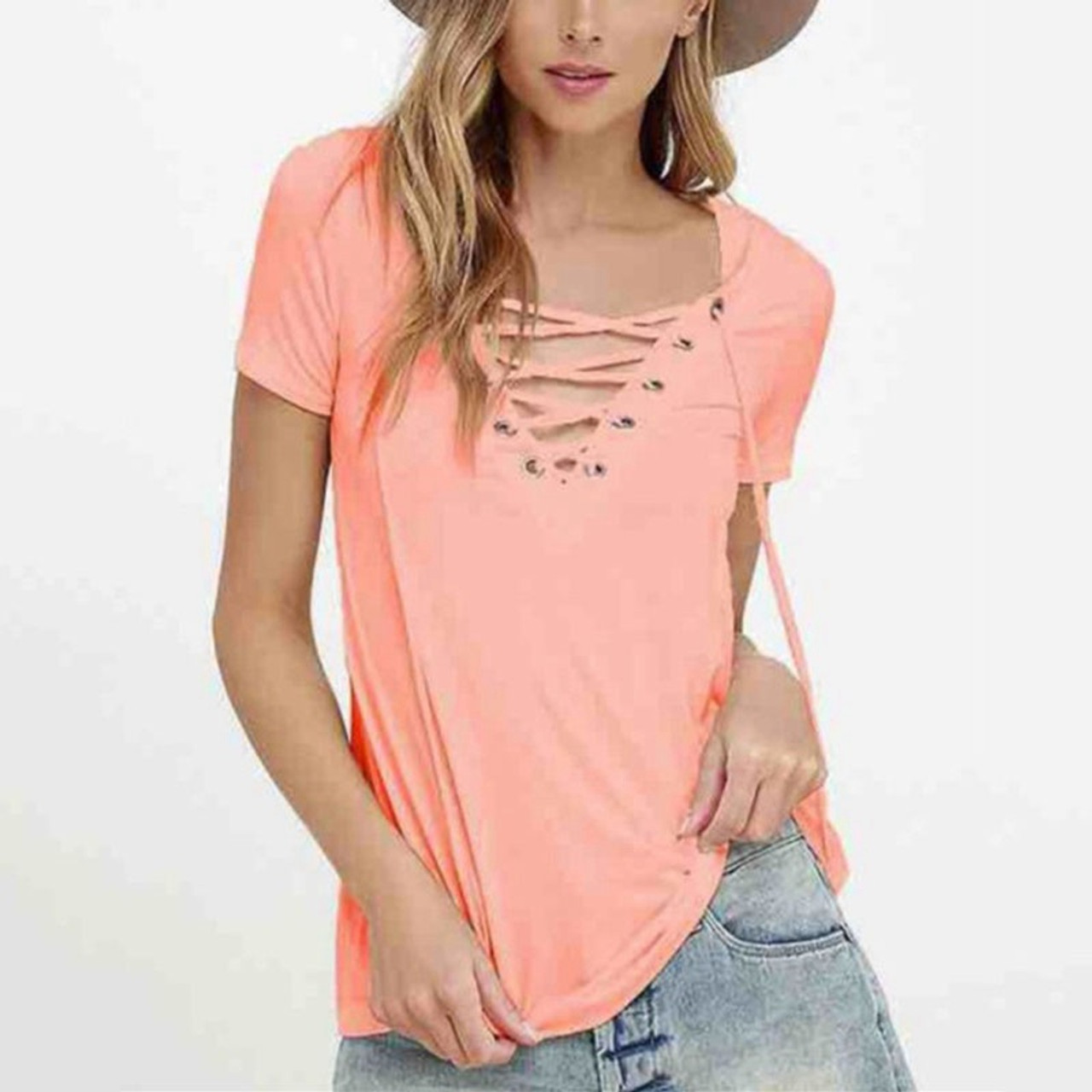 6cecab38a64 ... LASPERAL 2018 Summer Women T-shirts Short Sleeve Sexy Deep V Neck  Bandage Tee Shirt ...