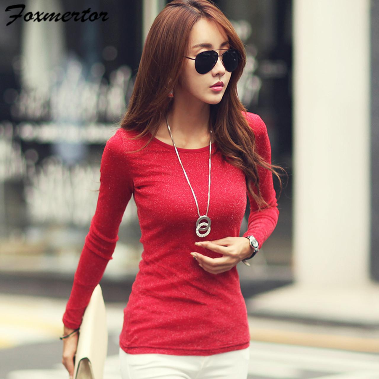 ac42561cf2d ... Women Fashion Shirts 2018 New Autumn Solid Women T-shirts Long Sleeve O- Neck ...
