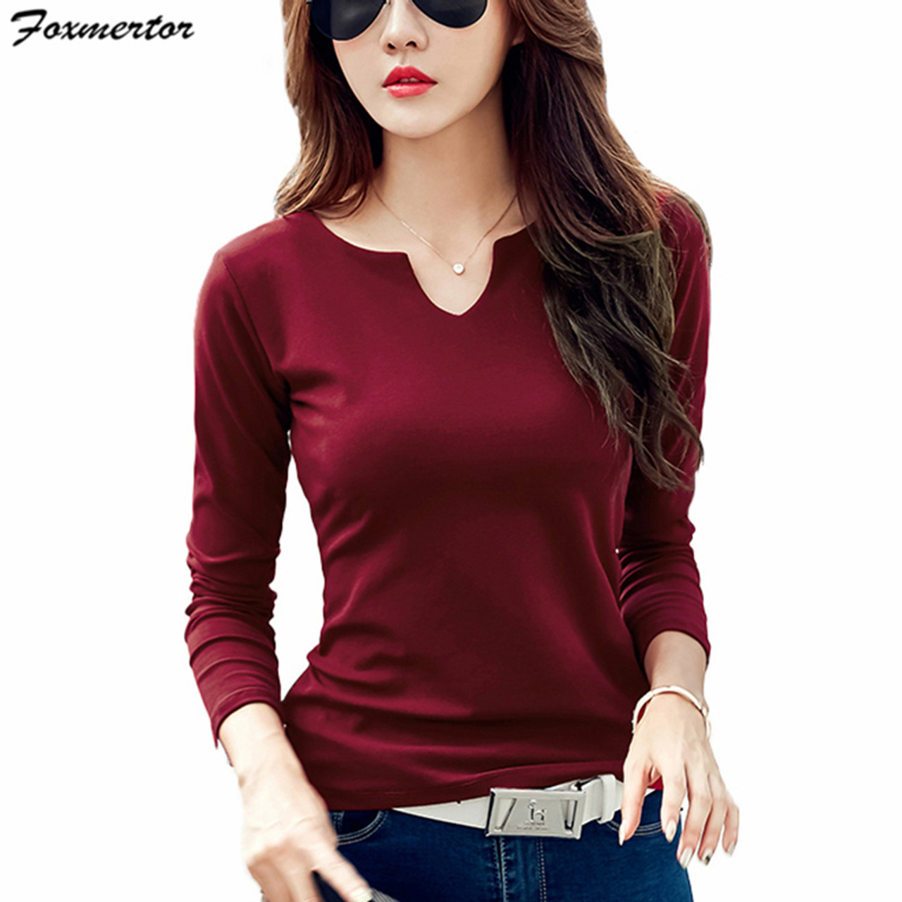 0da8dc4d1abc Foxmertor T-shirt Women 2018 Autumn Cotton Female T Shirts V-Neck Solid  Striped ...