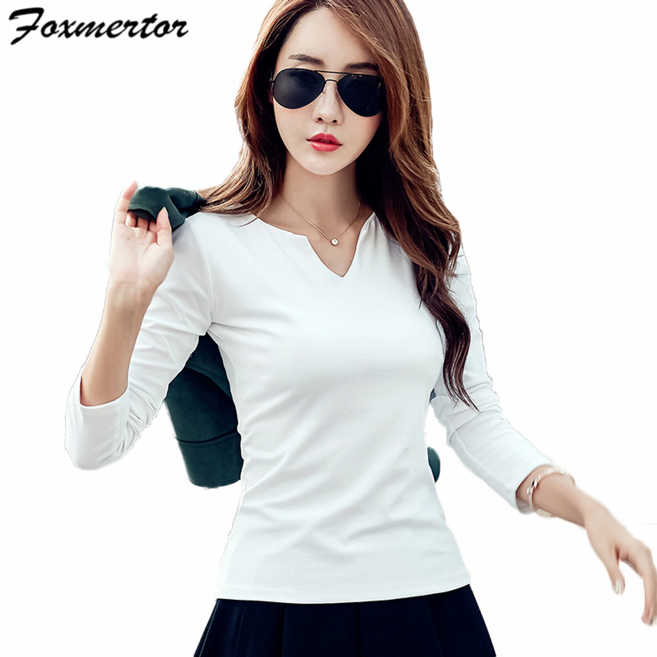 3e77b42258feb ... Foxmertor T-shirt Women 2018 Autumn Cotton Female T Shirts V-Neck Solid  Striped ...