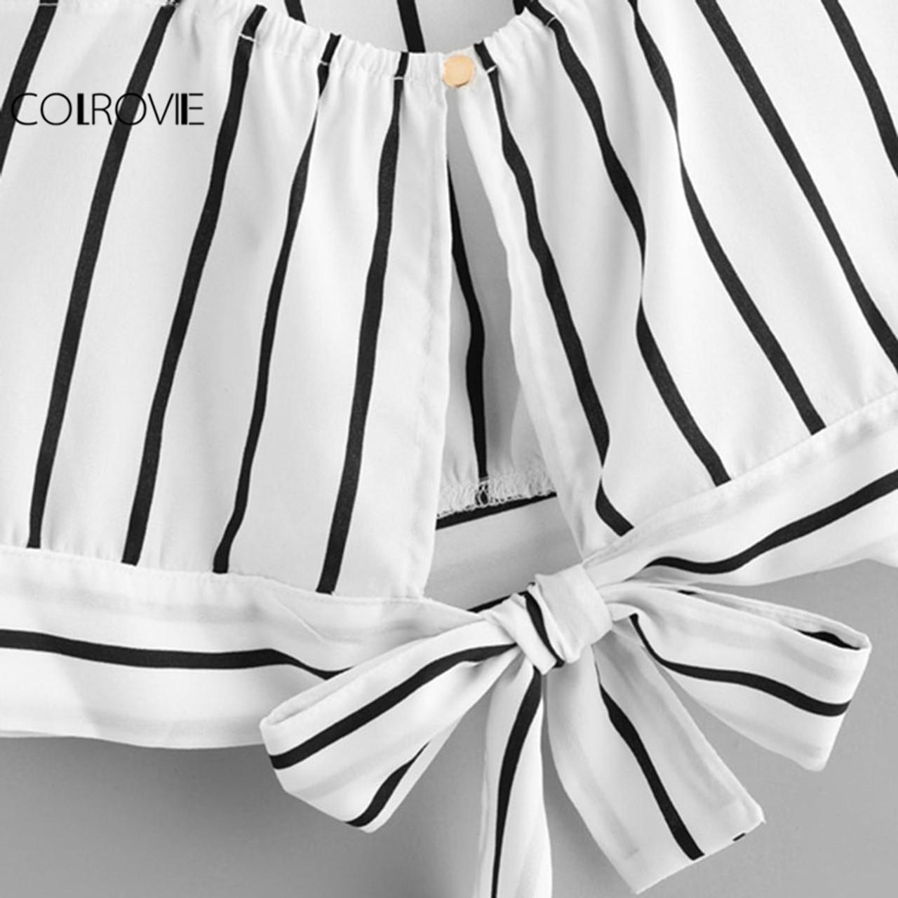 f0497406cda26 ... COLROVIE Striped Split Tie Back Crop Cami Top Women Casual Spaghetti  Strap Bow Top Vest 2018 ...