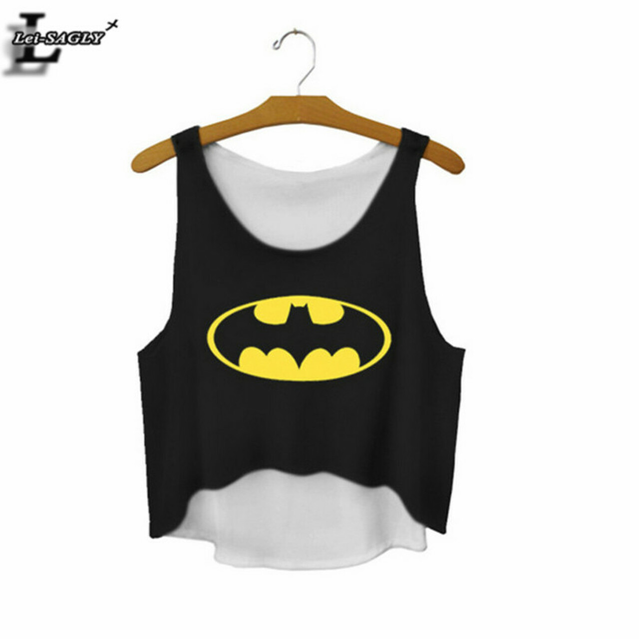 8efa87d34d475 Lei-SAGLY The Batman Sign Cartoon Printed Black Crop Tops Summer Elastic  Cute Sexy Tank ...