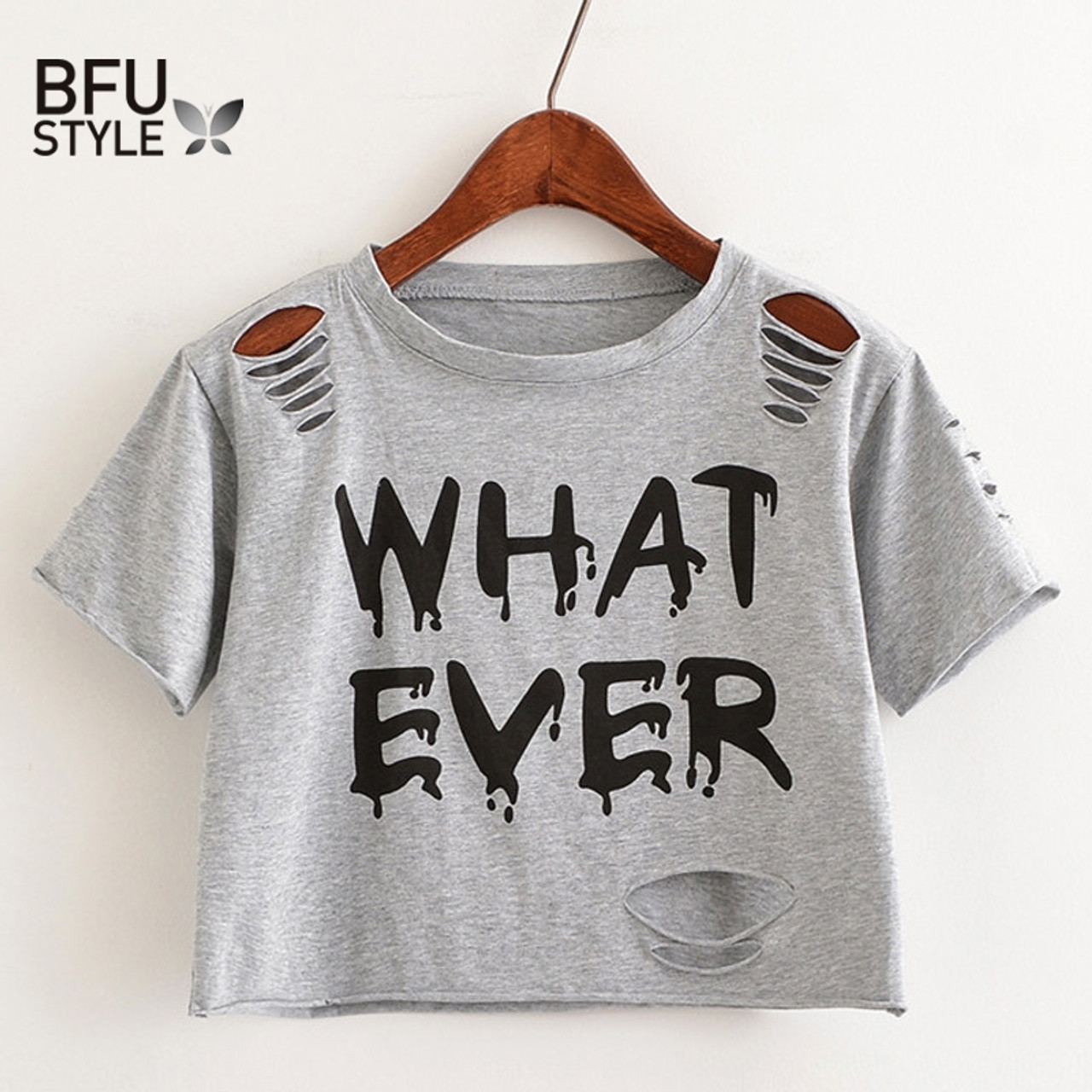 26bcbfd9c3828a ... Women Sweet Crop Top Holes T Shirt Hip Hop Letter Print Casual O Neck  Tees Ladies ...