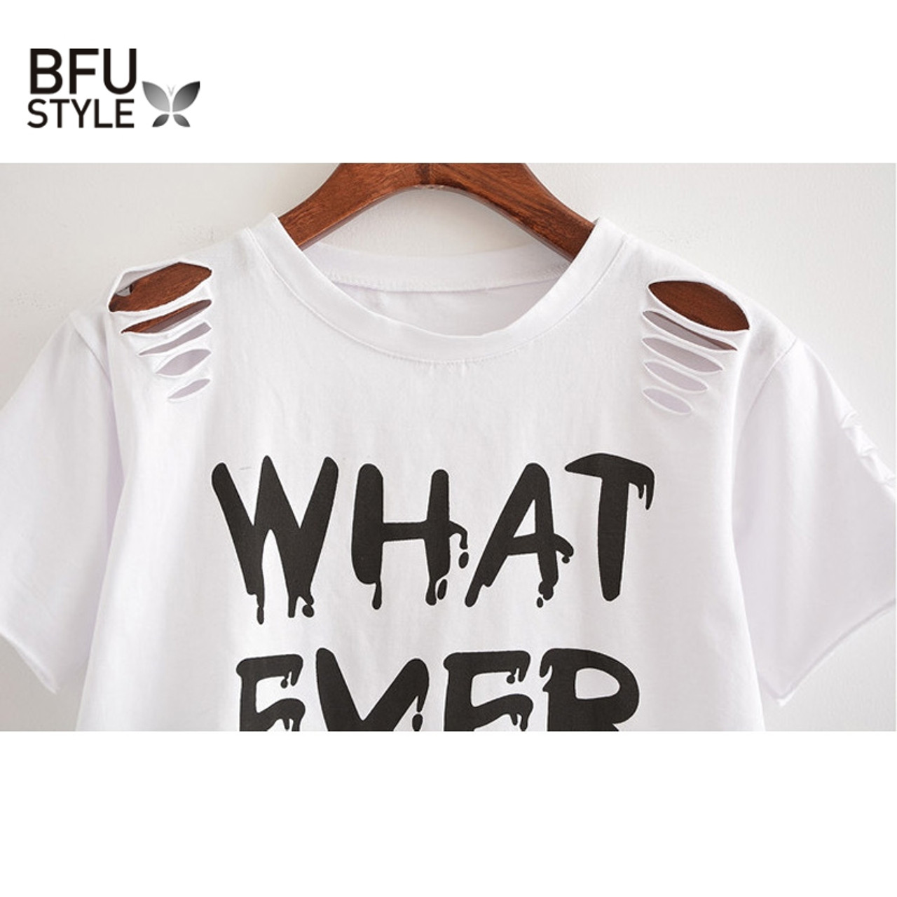 1a9824cc5331eb ... Women Sweet Crop Top Holes T Shirt Hip Hop Letter Print Casual O Neck  Tees Ladies ...
