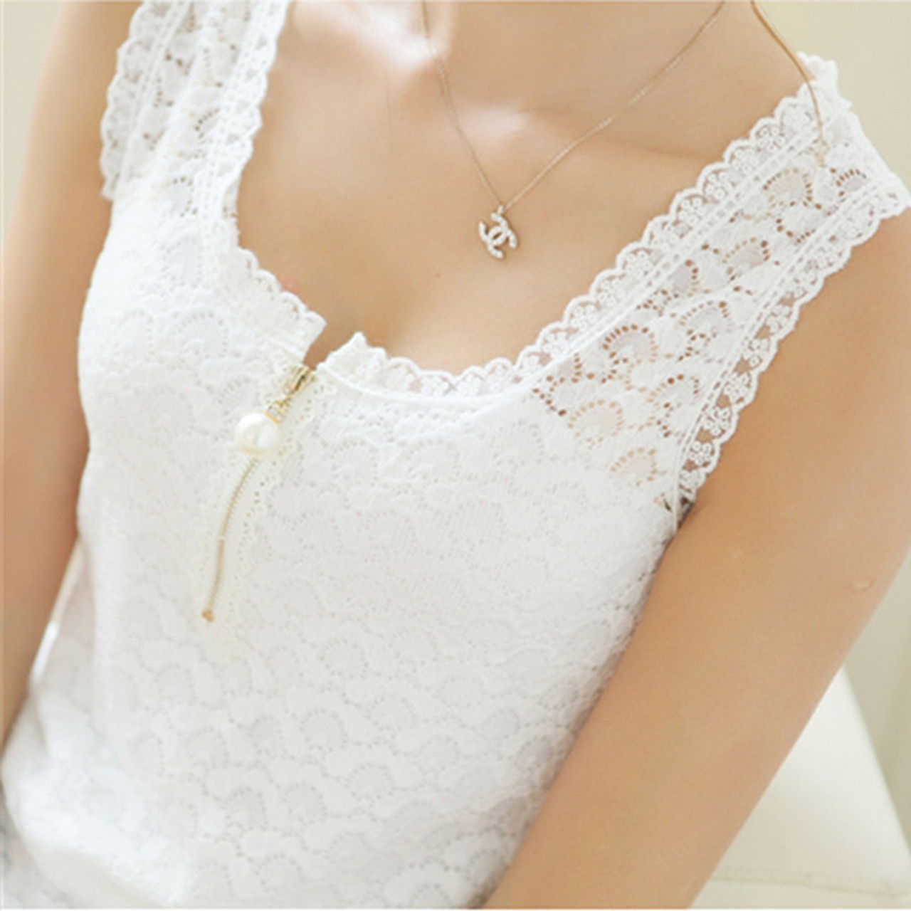 3808aac57e4 Fitness Tank Tops Summer Style Ladies Tops Beaded White Lace Blouse Shirt  2018 S-XXXL ...