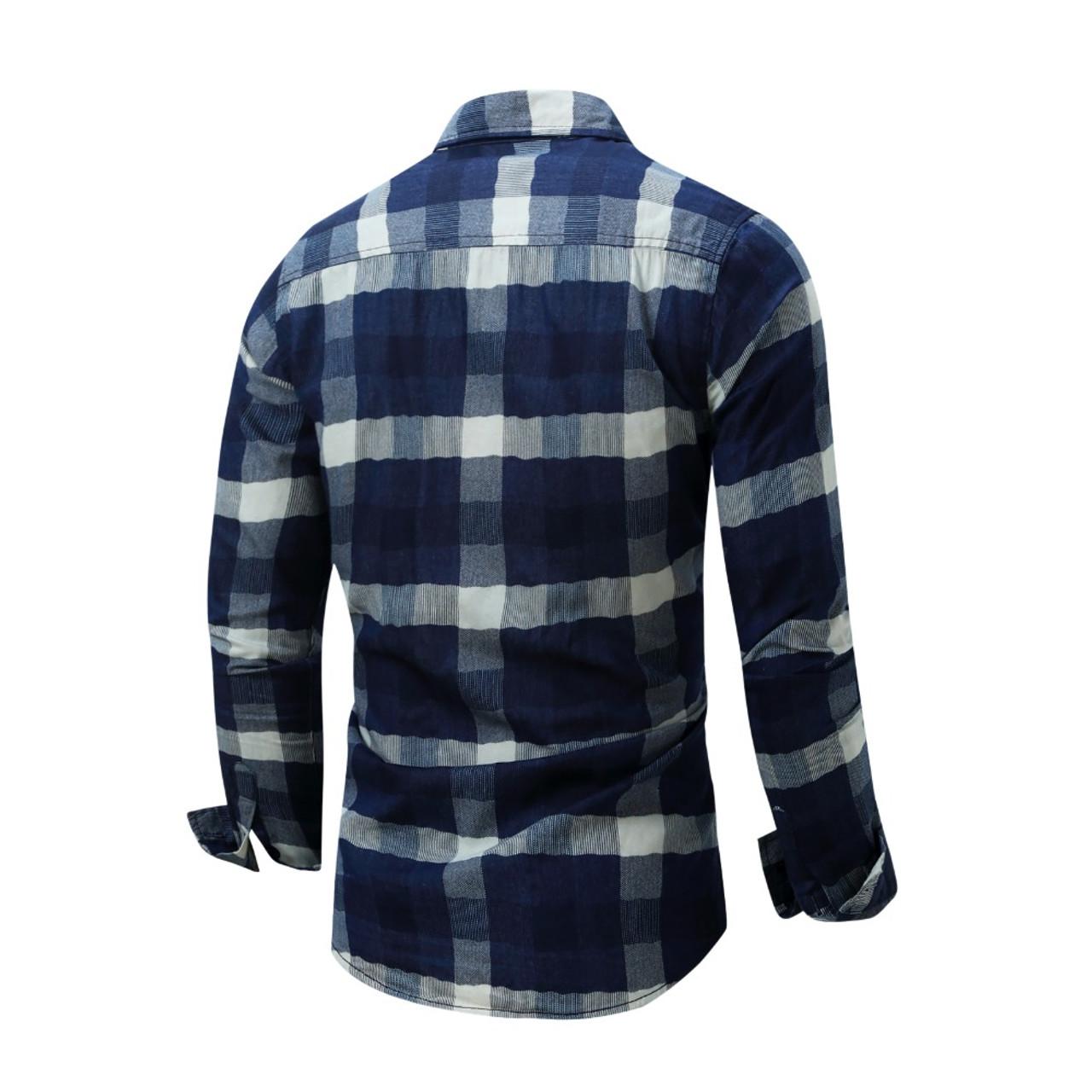 4732cf068b41 ... NORMEN Brand Clothing Men's Plaid Shirts Top Grade Denim Shirt Full  Sleeve Easy Care Shirt For ...