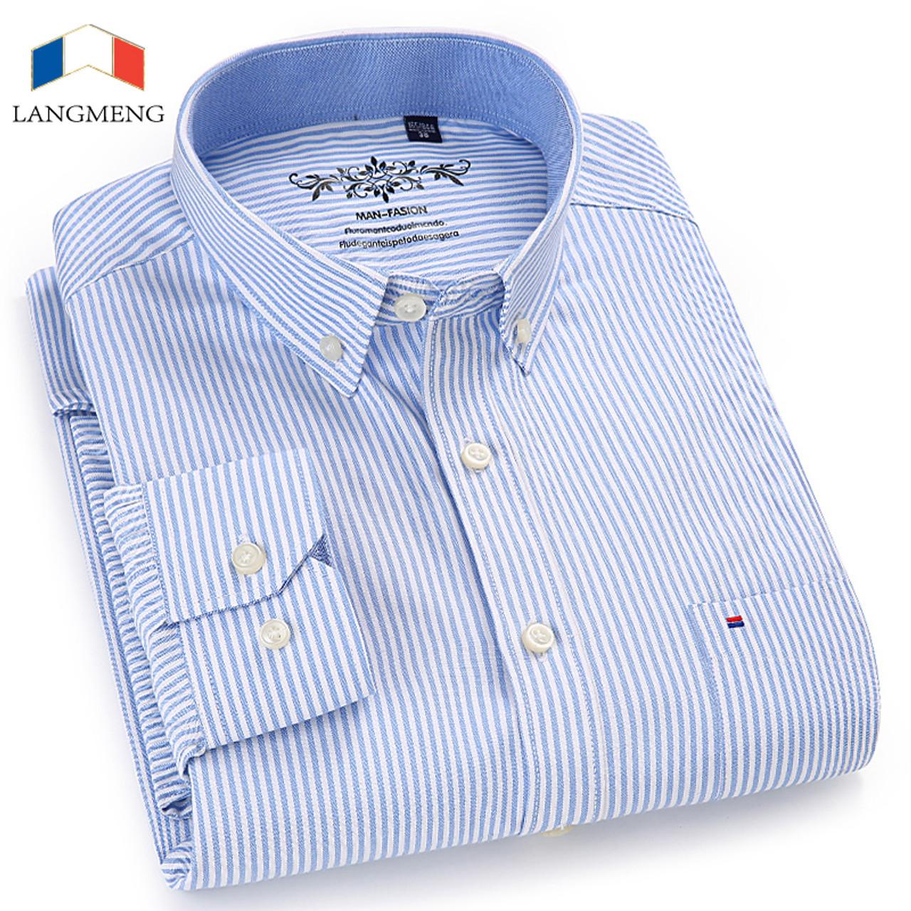 404faa7566 LANGMENG 2018 New Arrival Long Sleeve Men Shirts Cotton Formal Dress Shirt  Male Fashion Slim Fit ...