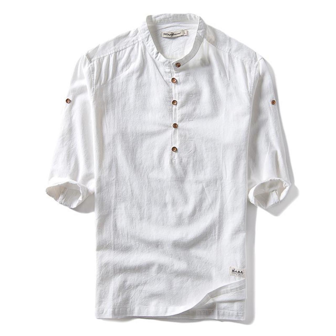b5e9fc37 ... 2018 New Trend Fashion Summer Solid Color Shirt Men Stand Collar Cotton  Linen Half Sleeve Shirt ...
